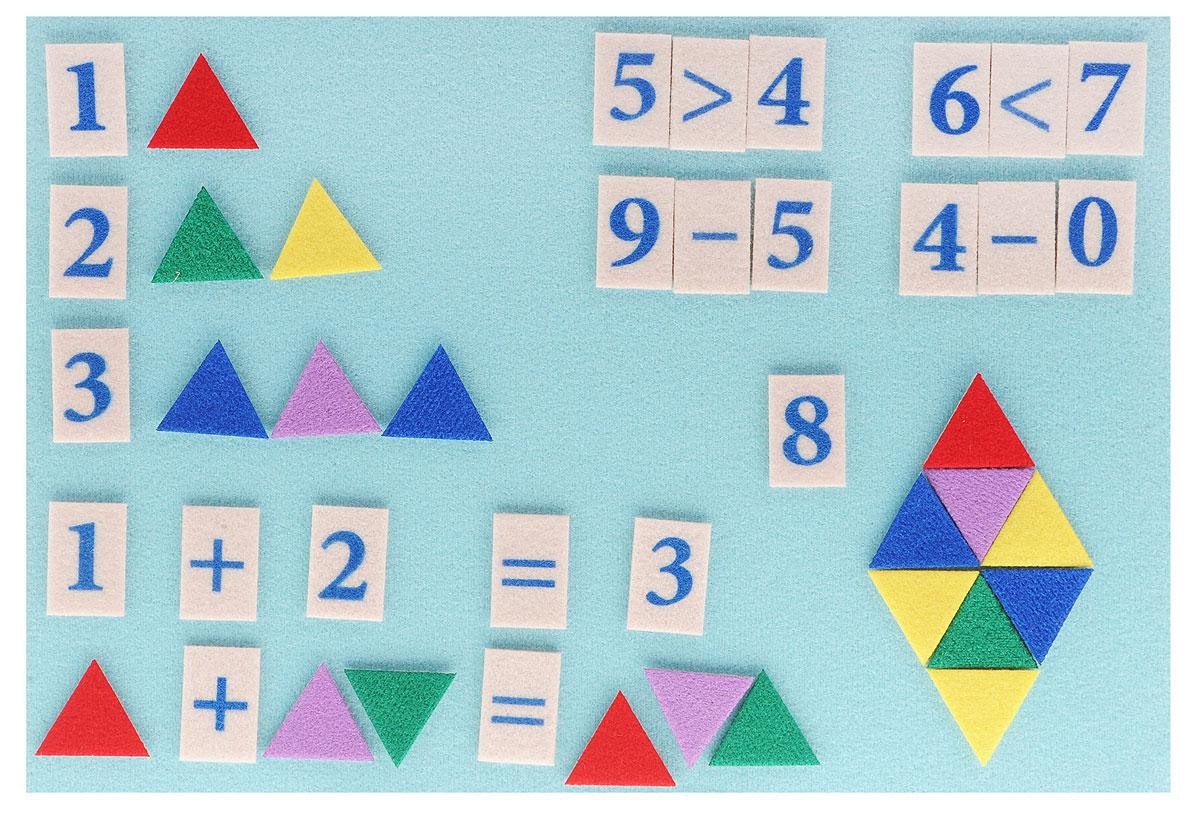 Стигисы - это фигурки, которые легко прикрепляются в любом месте игрового поля и друг к другу. В данный набор входят цифры и математические знаки для обучения сложению и вычитанию в пределах 10, а также счетный материал - треугольники для обучения счету в пределах 20. Игровое поле представляет собой пластиковую доску, обтянутую мягкой тканью. Треугольники, цифры и знаки выполнены из плотной ткани. Такая игра обеспечит необходимую подготовку ребенка в школу по математике. Мозаика обучит ребенка счету до 20 и наглядно покажет примеры на сложение и вычитание. С помощью игры малыш сможет решать задачки на составление подобных треугольников и ромбов, которые дают понимание геометрии. Ребенок может играть в увлекательную мозаику из треугольников. Игра отлично подходит для занятий в группе и в дороге.