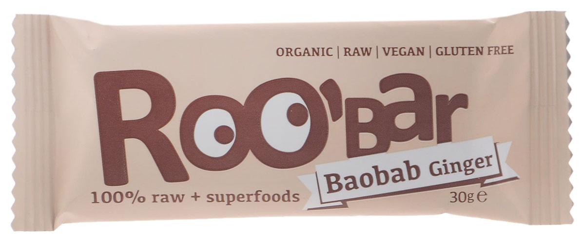 ROOBAR Baobab & Ginger Organic батончик, 30 г170Энергетический батончик ROOBAR Baobab & Ginger Organic со вкусом фиников, плодов баобаба, орехов кешью и имбиря. Здоровая пища может быть вкусной.Этот продукт содержит только натуральные фруктовые сахара.