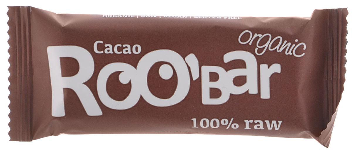 ROOBAR Cacao Organic батончик, 50 г0120710Энергетический батончик ROOBAR Cacao Organic со сладкими финиками, хрустящим миндалем и перуанским Криолло какао-порошком. Здоровая пища может быть вкусной.Этот продукт содержит только натуральные фруктовые сахара.