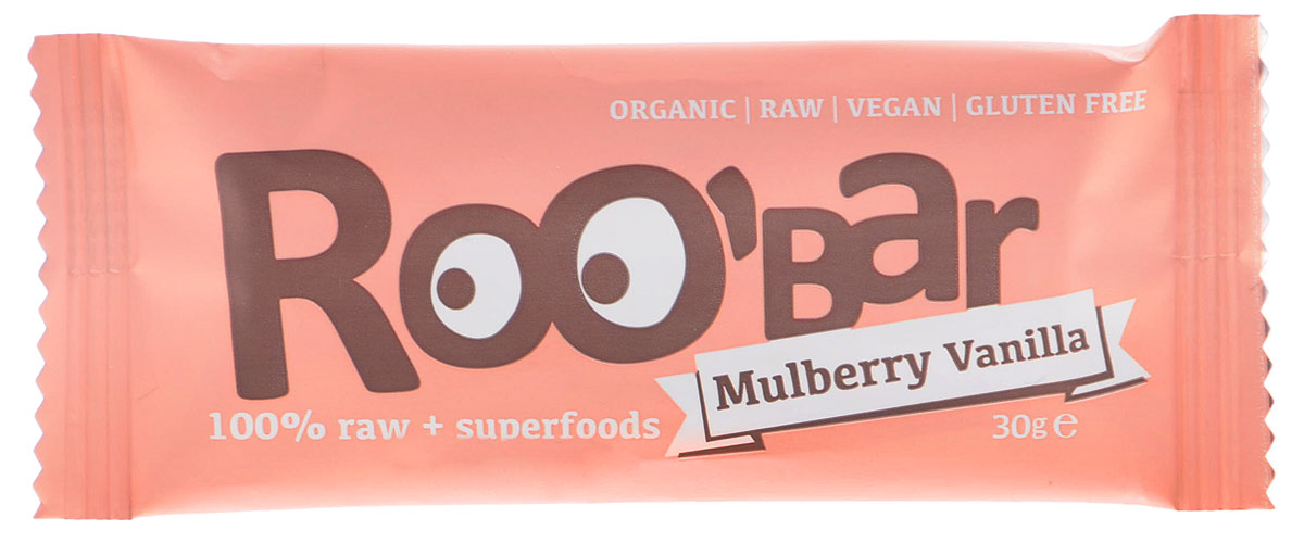 ROOBAR Mulberry & Vanilla Organic батончик, 30 г0120710Энергетический батончик ROOBAR Mulberry & Vanilla Organic со вкусом фиников, ягод шелковицы, орехов кешью и ванили — бурбон. Здоровая пища может быть вкусной.Этот продукт содержит только натуральные фруктовые сахара.