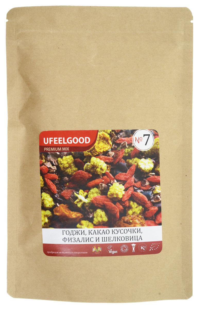 UFEELGOOD Premium Mix №7 (годжи, шелковица, кусочки какао боба, физалис), 100 г0120710UFEELGOOD Premium Mix №7– смесь из высокопитательных супер-продуктов, которая прекрасно подходит в качестве закуски. Главными ингредиентами этого Трэйл-микса являются ягоды и какао. Древние кочевники первыми оценили преимущества Трэйл-миксов – мощные растительные продукты удобны для транспортировки, не требуют приготовления и обеспечивают организм необходимой энергией.Сегодня Трэйл-миксы – это высокоэффективный продукт, являющийся усовершенствованным вариантом фруктовой смеси. Производители позаботились о том, чтобы соединить самые мощные и вкусные натуральные продукты. Каждый ингредиент смесей сам по себе является уникальным супер-продуктом, а комплекс таких супер-продуктов гораздо полезнее каждого отдельного компонента. Любой из предлагаемых Трэйл-миксов – это прекрасный источник энергии, антиоксидантов и питательных веществ. Трэйл-микс – это идеальный энергетик для современных путешественников и искателей приключений, которым можно перекусить в течение насыщенного событиями дня.Ягоды физалисаПитательные вещества: каротины, биофлавоноиды (витамин Р), витамины A и C, клетчатка, пектин, белок и фосфор.Действие: противовирусное и противовоспалительное действия, улучшение состояния кожи, лечение различных кожных заболеваний, улучшение памяти, снижение риска развития проблем со зрением, улучшение зрения, снятие отечности, стимуляция роста и укрепление костей, антиоксидантное действие.Ягоды ГоджиПитательные вещества: углеводы, высококачественный белок, натуральная клетчатка, полезные жирные кислоты, 18 аминокислот (в том числе 8 незаменимых), бета-каротин, полисахариды и антиоксиданты, витамины (А, B1, B2, B6, B12, С, E), минералы (цинк, фосфор, селен, железо, магний, йод и многие другие), редкий элемент германий.Действие: укрепление иммунной системы, продление жизни, улучшение и лечение реакции на сексуальный стимул, улучшение состава крови, восстановление работы костного мозга, укреп