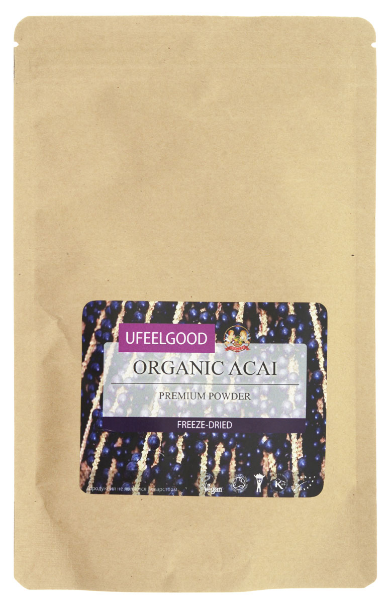 UFEELGOOD Organic Acai Premium Powder органические молотые ягоды асаи, 100 г0120710Плоды асаи обладают мощными антиоксидантными свойствами. Они восстанавливают клетки организма, предотвращая окислительные реакции внутри, замедляют процессы старения. Антоцианы, которые содержаться в ягодах, способны замедлить или предотвратить развитие рака. Содержание полифенола помогает избежать болезни сердца. Ягоды асаи очень питательны, они содержат: кальций железо, клетчатку, белок, жирные кислоты. Кроме этого, они способны на невероятную емкость поглощения радикалов кислорода – 50 000 единиц на 100 граммов (для сравнения, красный виноград — 740). Ягоды асаи для похудения используют следующим образом — из них делают питательный сок, который заменяет собой еду. Экстракт асаи используется для того, чтобы придать неповторимый вкус блюдам.