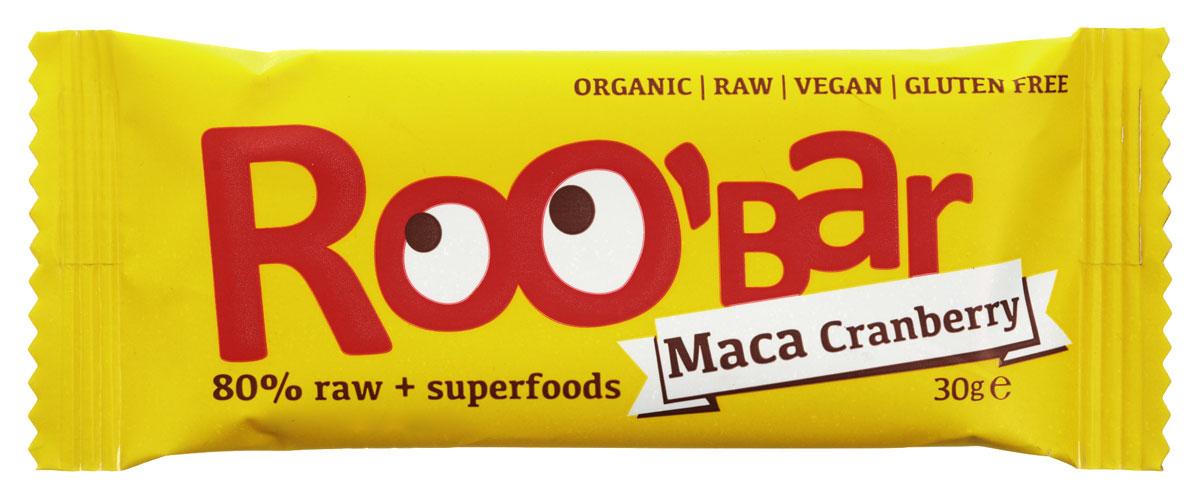 ROOBAR Maca & Cranberries Organic батончик, 30 г0120710ROOBAR Maca & Cranberries Organic - это энергетический батончик, в котором сочетаются сладкие финики с кислым вкусом клюквы, а завершает этот чудесный вкус щепотка Маки Перуанской. Здоровая пища может быть вкусной!
