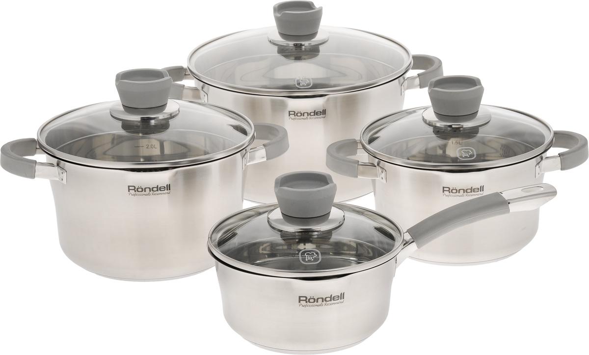 Набор посуды Rondell Favory, 8 предметов68/5/4Набор посуды Rondell Favory состоит из трех кастрюль с крышками и ковша с крышкой. Посуда изготовлена из высококачественной нержавеющей стали, что гарантирует безупречный внешний вид посуды, практичность и долговечность. Уникальный двухэтапный метод технологии тройного дна с вштампованным, а затем вплавленным алюминиевым диском позволяет равномерно распределять и значительно дольше сохранять тепло по стенкам и дну посуды, что предотвращает пригорание пищи и обеспечивает более быстрое приготовление блюд. Крышки выполнены из термостойкого стекла с ободком из нержавеющей стали для слива. Кастрюли оснащены мягкими силиконовыми ручками, которые не нагреваются, не скользят и приятны на ощупь. С отметками литража на внутренних стенках посуды вы легко сможете соблюдать пропорции рецептуры без применения дополнительных предметов.Эргономичный дизайн и функциональность набора Rondell Favory позволят вам наслаждаться процессом приготовления любимых блюд. Изделия подходят для использования на всех видах плит, включая индукционные. Можно мыть в посудомоечной машине.Диаметр кастрюль: 18 см; 20 см; 24 см.Высота кастрюль: 11 см; 12,5 см; 14 см.Ширина кастрюль (с учетом ручек): 26 см; 28 см; 32,5 см.Объем кастрюль: 2,4 л; 3,4 л; 5,6 л.Диаметр ковша: 16 см.Высота ковша: 8 см.Длина ручки ковша: 15 см.Объем ковша: 1,4 л.Диаметр крышек: 25 см; 21 см; 19 см; 16,5 см.