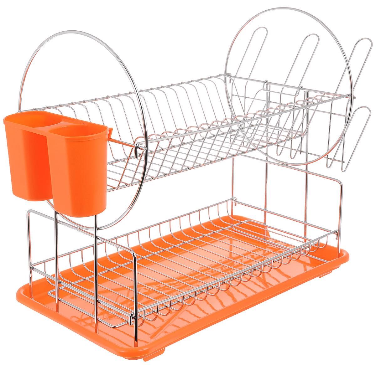Сушилка для посуды Mayer & Boch, 2-ярусная, цвет: оранжевый, 39 х 23 х 36 смVT-1520(SR)Двухъярусная сушилка для посуды Mayer & Boch, выполненная из высококачественного полипропилена и хромированного металла, отлично подходит для хранения кухонных принадлежностей и столовых приборов. Сушилка состоит из подставки для тарелок, двойной подставки для столовых приборов, а также места для кружек и мисок. Поддон для воды поможет сохранить кухню в чистоте. Элегантный, цветной дизайн прекрасно сочетается с интерьером любой кухни.