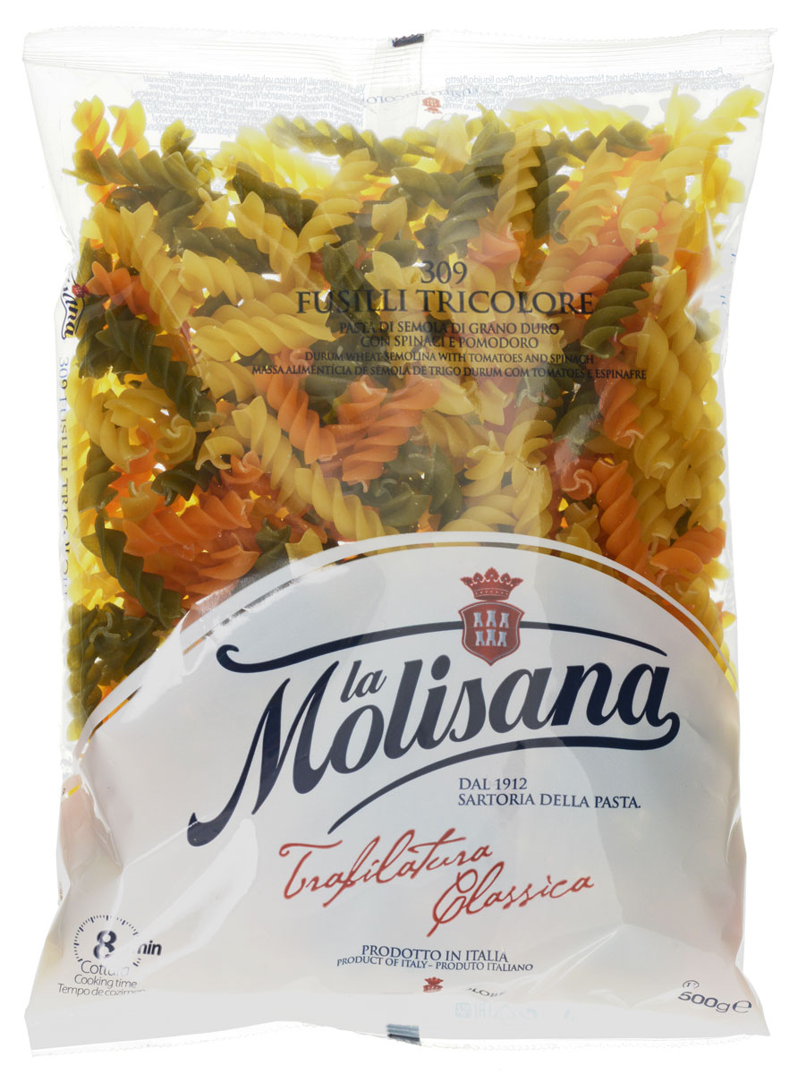 La Molisana Fusilli Tricolore макаронные изделия с добавлением томатов и шпината, 500 г0120710Макаронные изделия La Molisana Fusilli Tricolore с добавлением томатов и шпината сделаны из муки твердых сортов, содержащей чуть меньшее количество клейковины, чем обыкновенная мука. Она хорошо поглощает воду, макароны из нее при варке увеличиваются и не развариваются.