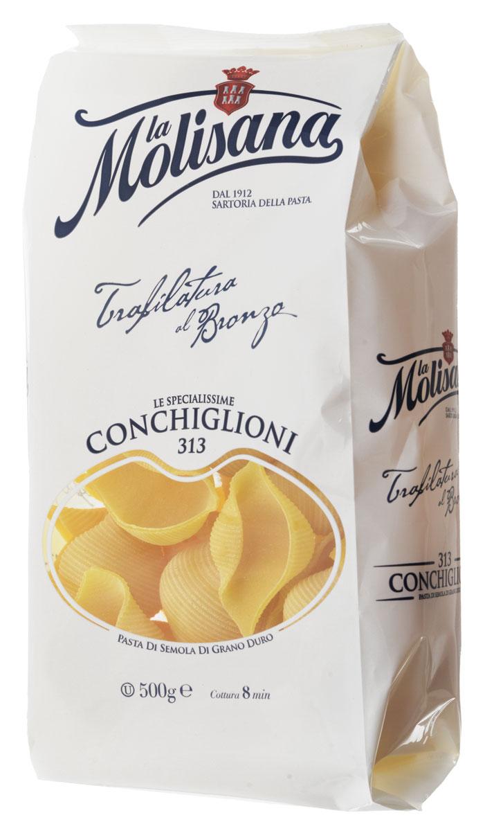 La Molisana Conchiglioni ракушки рифленые, 500 г0120710Рифленые ракушки La Molisana Conchiglioni сделаны из муки твердых сортов, содержащей чуть меньшее количество клейковины, чем обыкновенная мука. Она хорошо поглощает воду, макароны из нее при варке увеличиваются и не развариваются.