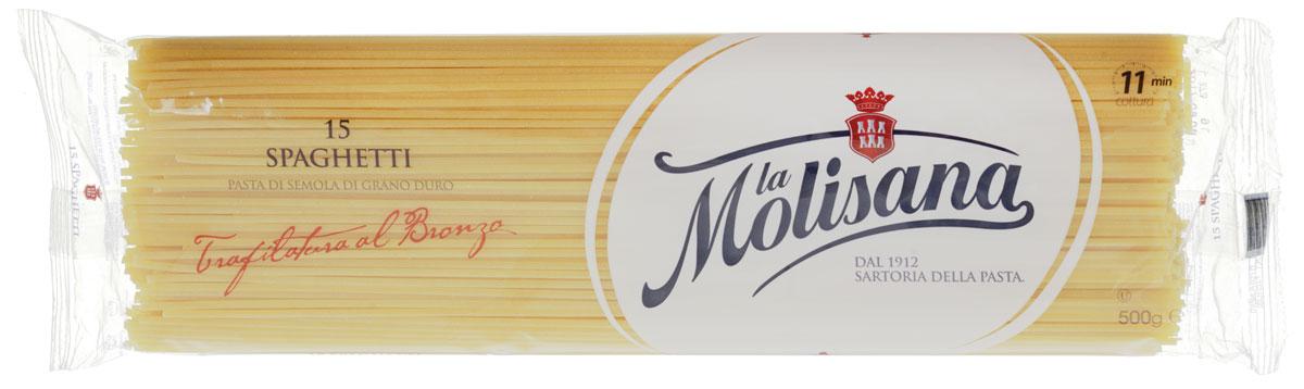 La Molisana Spaghetti спагетти, 500 г8008857400839Спагетти La Molisana Spaghetti сделаны из муки твердых сортов, содержащей чуть меньшее количество клейковины, чем обыкновенная мука. Она хорошо поглощает воду, макароны из нее при варке увеличиваются и не развариваются.