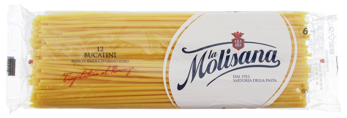 La Molisana Bucatini спагетти с дырочкой, 500 г0120710Спагетти с дырочкой La Molisana Bucatini сделаны из муки твердых сортов, содержащей чуть меньшее количество клейковины, чем обыкновенная мука. Она хорошо поглощает воду, макароны из нее при варке увеличиваются и не развариваются.