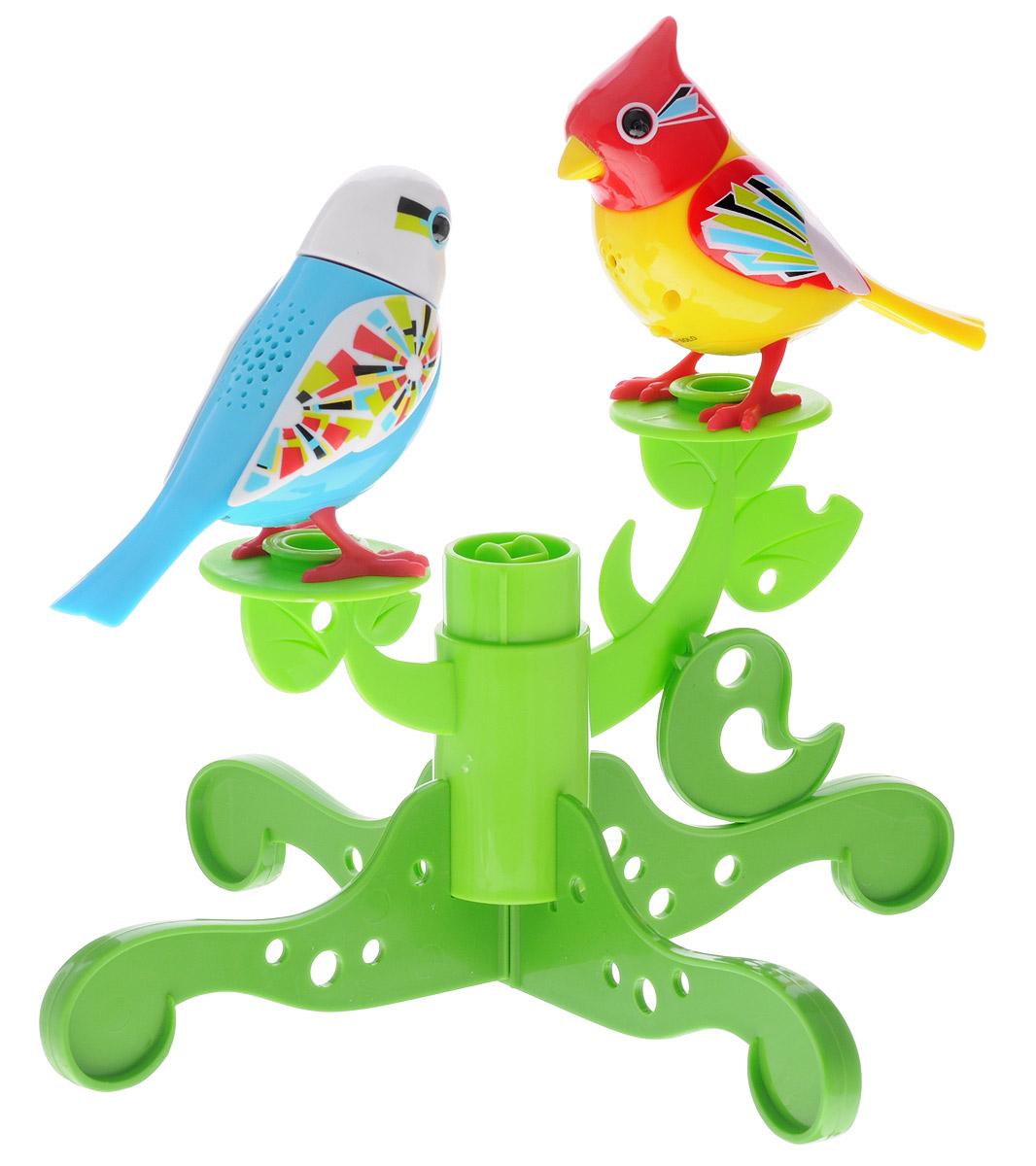 DigiFriends Интерактивная игрушка Две птички с деревом цвет голубой желтый