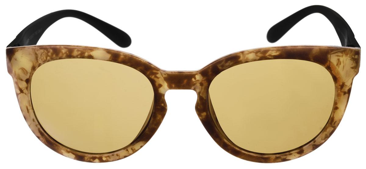Очки солнцезащитные женские Fabretti, цвет: черный, коричневый, бежевый. A1606-7INT-06501Солнцезащитные женские очки Fabretti выполнены с линзами из высококачественного пластика.Используемый пластик не искажает изображение, не подвержен нагреванию и вредному воздействию солнечных лучей, защищает от бликов, повышает контрастность и четкость изображения, снижает усталость глаз и обеспечивает отличную видимость. Линзы имеют степень затемнения Cat. 3.Пластиковая оправа очков, выполненная в оригинальной черно-коричневой гамме с ненавязчивым орнаментом. Оправа легкая, прилегающей формы и поэтому не создает никакого дискомфорта.Такие очки защитят глаза от ультрафиолетовых лучей, подчеркнут вашу индивидуальность и сделают ваш образ завершенным.