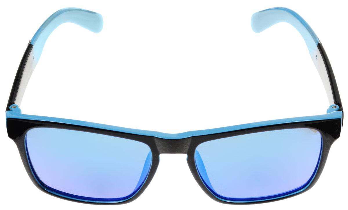 Очки солнцезащитные женские Fabretti, цвет: голубой, черный. A1607-3INT-06501Солнцезащитные женские очки Fabretti выполнены с линзами из высококачественного пластика с зеркальной поверхностью.Используемый пластик не искажает изображение, не подвержен нагреванию и вредному воздействию солнечных лучей, защищает от бликов, повышает контрастность и четкость изображения, снижает усталость глаз и обеспечивает отличную видимость. Линзы имеют степень затемнения Cat. 3.Пластиковая оправа очков, выполненная в оригинальной черно-голубой гамме, дужки декорированы стразами. Оправа легкая, прилегающей формы и поэтому не создает никакого дискомфорта.Такие очки защитят глаза от ультрафиолетовых лучей, подчеркнут вашу индивидуальность и сделают ваш образ завершенным.