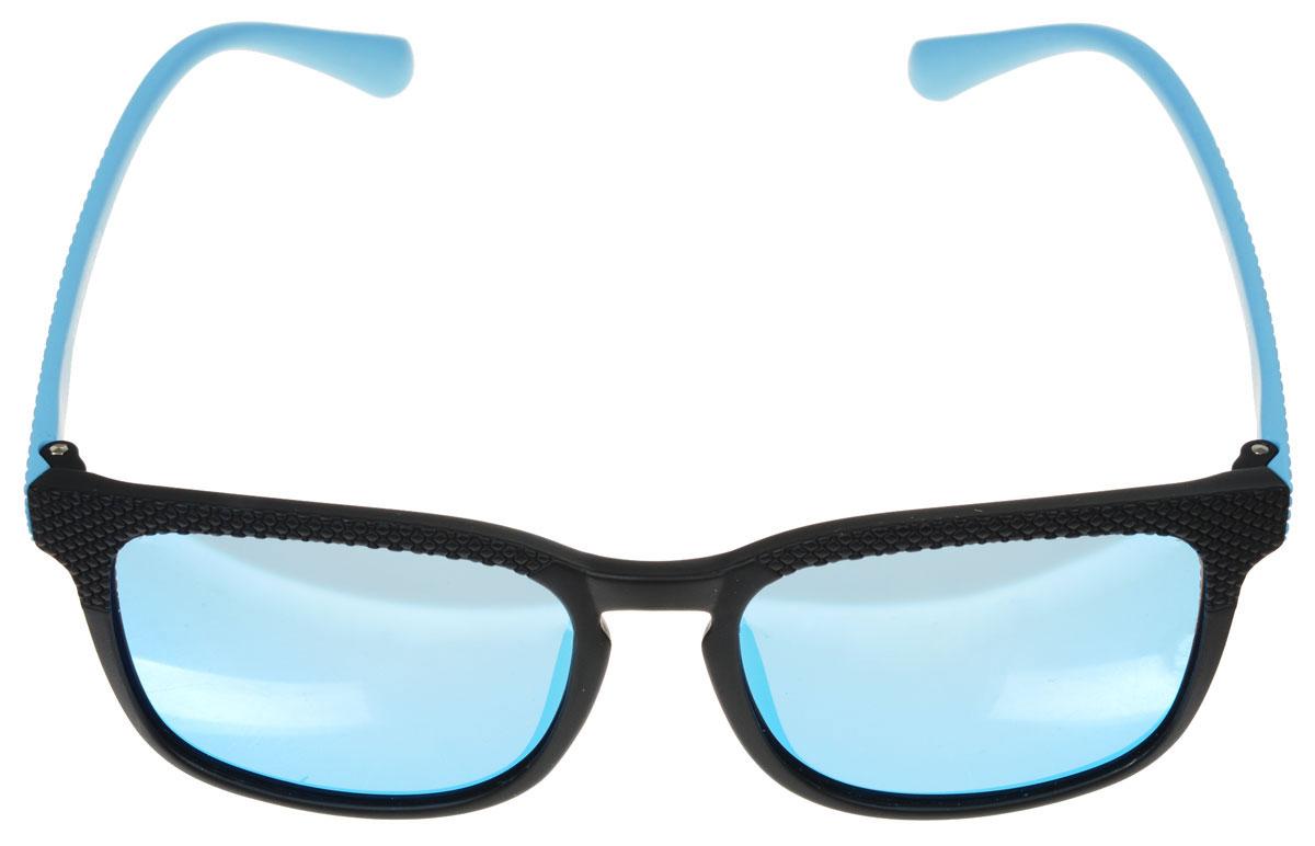 Очки солнцезащитные женские Fabretti, цвет: голубой, черный. A1618-2INT-06501Солнцезащитные женские очки Fabretti выполнены с линзами из высококачественного пластика с зеркальной поверхностью.Используемый пластик не искажает изображение, не подвержен нагреванию и вредному воздействию солнечных лучей, защищает от бликов, повышает контрастность и четкость изображения, снижает усталость глаз и обеспечивает отличную видимость. Линзы имеют степень затемнения Cat. 3.Пластиковая оправа очков, выполненная в оригинальной черно-красной гамме с ромбовидным орнаментом. Оправа легкая, прилегающей формы и поэтому не создает никакого дискомфорта.Такие очки защитят глаза от ультрафиолетовых лучей, подчеркнут вашу индивидуальность и сделают ваш образ завершенным.