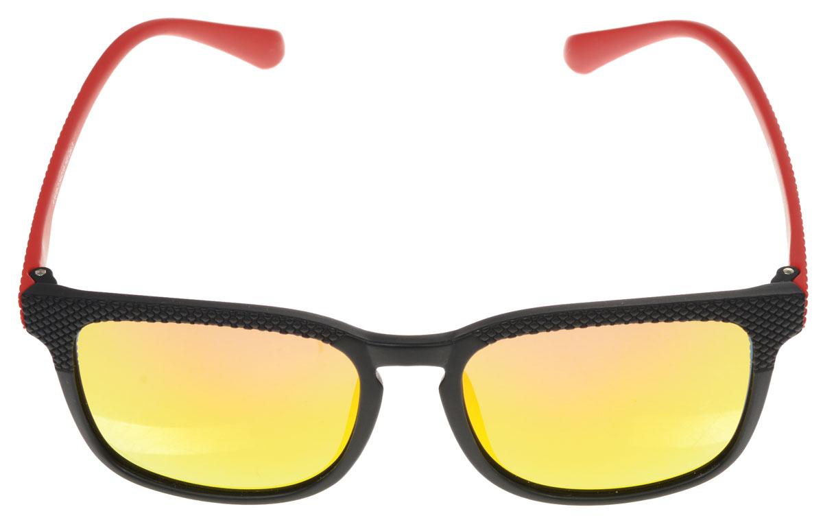 Очки солнцезащитные женские Fabretti, цвет: черный, красный, желтый. A1618-3INT-06501Солнцезащитные женские очки Fabretti выполнены с линзами из высококачественного пластика с зеркальной поверхностью.Используемый пластик не искажает изображение, не подвержен нагреванию и вредному воздействию солнечных лучей, защищает от бликов, повышает контрастность и четкость изображения, снижает усталость глаз и обеспечивает отличную видимость. Линзы имеют степень затемнения Cat. 3.Пластиковая оправа очков, выполненная в оригинальной черно-красной гамме с ромбовидным орнаментом. Оправа легкая, прилегающей формы и поэтому не создает никакого дискомфорта.Такие очки защитят глаза от ультрафиолетовых лучей, подчеркнут вашу индивидуальность и сделают ваш образ завершенным.