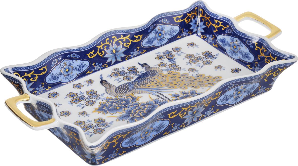 Хлебница Elan Gallery Синий павлин, 30 х 14,5 х 4 смВетерок 2ГФХлебница Elan Gallery Синий павлин, изготовленная из глазурованной керамики, станет изысканным украшением стола. Удобное красивое блюдо снабжено высокими волнистыми бортами и двумя ручками. Блюдо можно использовать не только для хлеба, но и для любой другой выпечки и разнообразных блюд. Изделие имеет подарочную упаковку, оно станет желанным подарком для ваших близких.