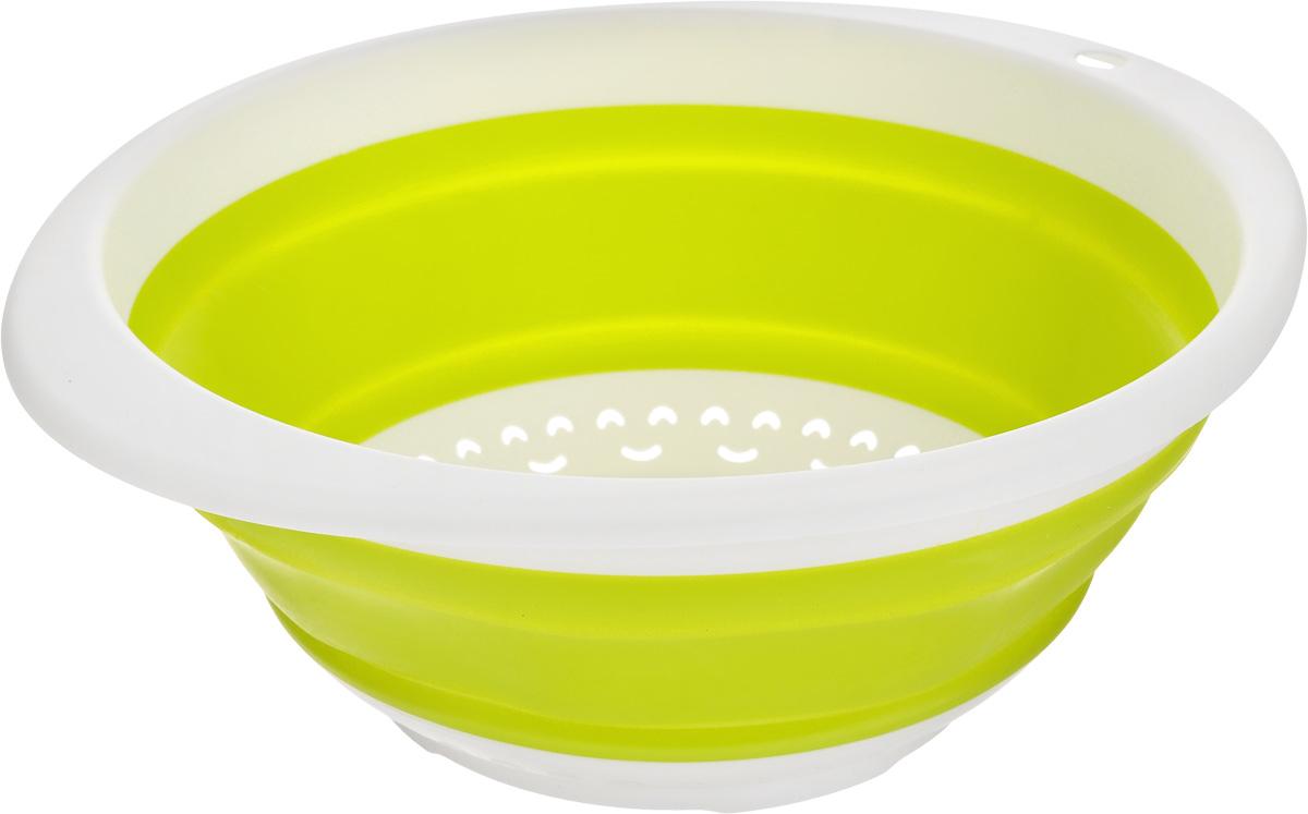 Дуршлаг складной Calve, цвет: салатовый, 30 x 26,5 x 4 смCL-4595Дуршлаг Calve, изготовленный из высококачественного силикона и пластика, станет полезным приобретением для вашей кухни. Он предназначен для отделения жидкости от твердых веществ, после варки макаронных изделий, круп, картофеля. Также дуршлаг используется для мытья и промывания ягод, грибов, мелких фруктов и овощей.Дуршлаг компактно складывается, что делает его удобным для хранения.Можно мыть в посудомоечной машине.Внутренний диаметр: 24 см.Размер (в разложенном виде): 30 х 26,5 х 11 см.Размер (в сложенном виде): 30 х 26,5 х 4 см.