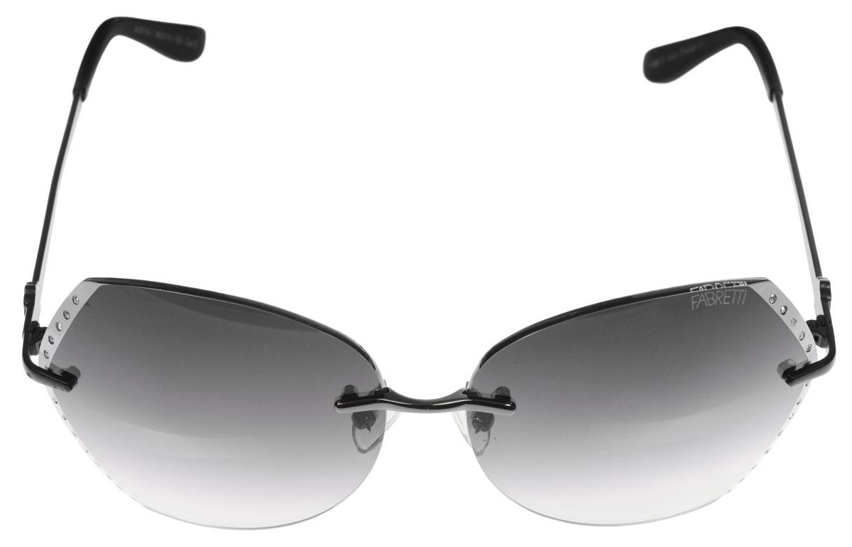 Очки солнцезащитные женские Fabretti, цвет: черный, стальной. A1615-1INT-06501Солнцезащитные женские очки Fabretti выполнены с фотохромными линзами оригинальной формы из высококачественного пластика. Поверхность по краям декорирована стразами. Используемые линзы корригируют зрение (улучшают зрение до максимально достижимой с очками остроты зрения) и изменяют степень своего затемнения в зависимости от интенсивности солнечного света. Линзы имеют степень затемнения Cat. 2.Металлическая оправа с пластиковыми дужками декорирована оригинальным цветком. Оправа легкая, прилегающей формы и поэтому не создает никакого дискомфорта.Такие очки защитят глаза от ультрафиолетовых лучей, подчеркнут вашу индивидуальность и сделают ваш образ завершенным.