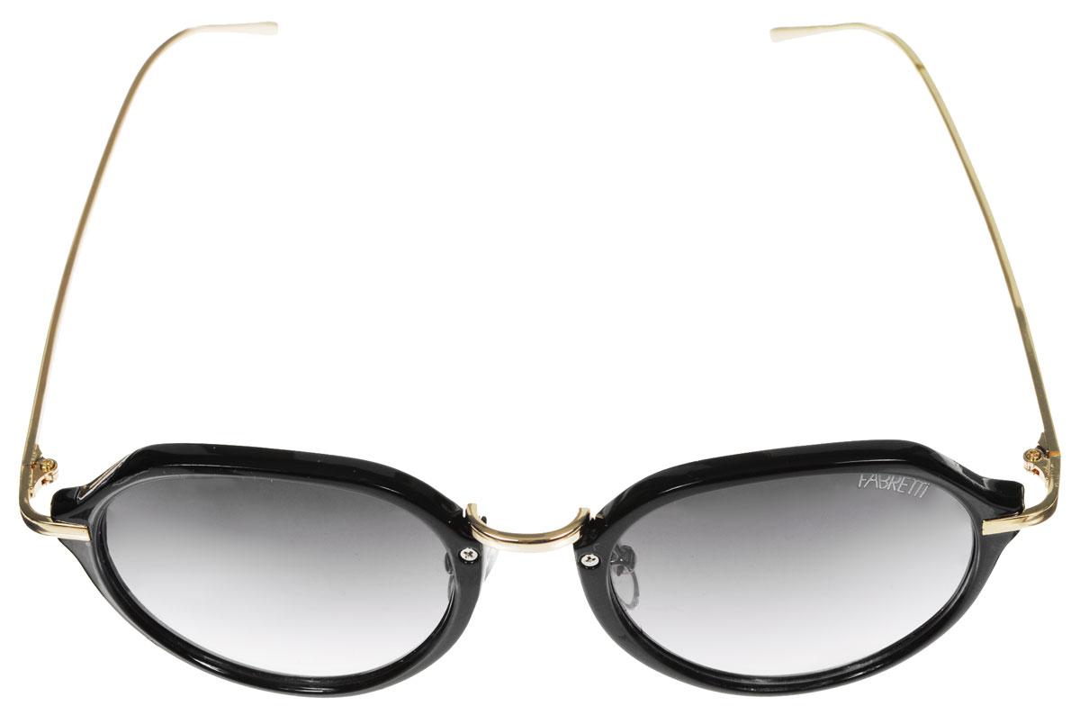 Очки солнцезащитные женские Fabretti, цвет: серый, черный, золотистый. A1616-2BM8434-58AEСолнцезащитные женские очки Fabretti выполнены из высококачественного пластика с фотохромными линзами оригинальной формы.Используемые линзы корригируют зрение (улучшают зрение до максимально достижимой с очками остроты зрения) и изменяют степень своего затемнения в зависимости от интенсивности солнечного света. Линзы имеют степень затемнения Cat. 2.Металлическая оправа легкая, прилегающей формы и поэтому не создает никакого дискомфорта.Такие очки защитят глаза от ультрафиолетовых лучей, подчеркнут вашу индивидуальность и сделают ваш образ завершенным.