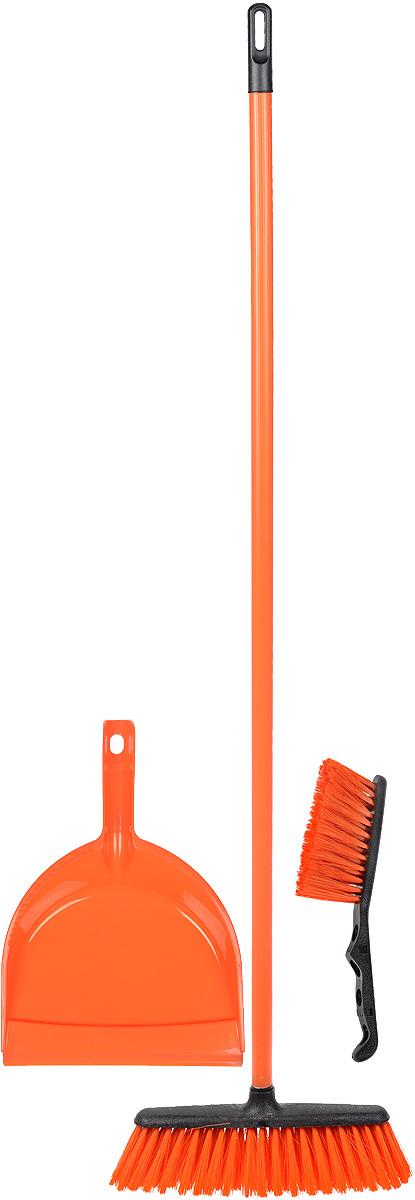 Набор для уборки York Combi Centi, цвет: оранжевый, 3 предмета8205_оранжевыйНабор York Combi Centi состоит из совка, щетки-сметки и щетки-метелки, изготовленных из высококачественного пластика и сложных полимеров. Вместительный совок удерживает собранный мусор и позволяет эффективно и быстро совершать уборку в любом помещении. Сглаженный край совка обеспечивает наиболее плотное прилегание к полу. Щетка-метелка имеет удобную форму, позволяющую вымести мусор даже из труднодоступных мест. Щетка-сметка предназначена для уборки небольших поверхностей. Все предметы набора оснащены ручками с отверстиями для подвешивания. Черенок щетки-метелки выполнен из металла. С набором York Combi Centi уборка станет легче и приятнее.Общая длина щетки-метелки: 117 см.Длина ворса щетки-метелки: 7 см.Общая длина щетки-сметки: 26 см.Длина ворса щетки-сметки: 5 см.Длина совка: 32,5 см.Размер рабочей части совка: 23 х 22 х 5 см.