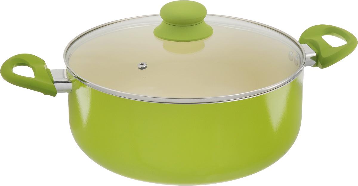 Сотейник Mayer & Boch, с крышкой, с керамическим покрытием, цвет: салатовый, 5,8 лFS-91909Сотейник Mayer & Boch изготовлен из литого алюминия. Внутреннее покрытие керамическое. Внешнее покрытие из термостойкого лака. Антипригарные свойства посуды позволяют готовить без жира и подсолнечного масла или с его малым количеством. Ручки выполнены из бакелита с силиконовым покрытием, они имеют комфортную эргономичную форму и не нагреваются в процессе эксплуатации. Крышка изготовлена из термостойкого стекла, благодаря чему можно наблюдать за ингредиентами в процессе приготовления. Подходит для всех типов плит, кроме индукционных. Можно мыть в посудомоечной машине. Диаметр сотейника (по верхнему краю): 26 см. Ширина сотейника (с учетом ручек): 40 см.Высота стенки: 11 см. Толщина стенки: 2,5 мм. Толщина дна: 2,5 мм.