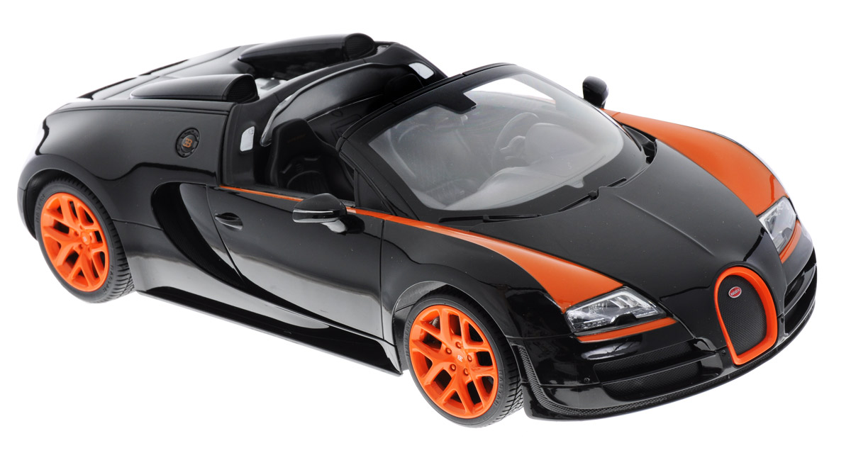 """Радиоуправляемая модель Rastar """"Bugatti Veyron 16.4 Grand Sport Vitesse"""" будет отличным подарком как ребенку, так и взрослому коллекционеру. Все дети хотят иметь в наборе своих игрушек ослепительные, невероятные и крутые автомобили на радиоуправлении. Тем более, если это автомобиль известной марки с проработкой всех деталей, удивляющий приятным качеством и видом. Одной из таких моделей является автомобиль на радиоуправлении Rastar """"Bugatti Veyron 16.4 Grand Sport Vitesse"""". Это точная копия настоящего авто в масштабе 1:14. Авто обладает неповторимым стилем и спортивным характером. Потрясающая маневренность, динамика и покладистость - отличительные качества этой модели. Возможные движения: вперед-назад, вправо-влево, остановка. Имеются световые эффекты. Пульт управления работает на частоте 2,4 GHz. Для работы игрушки необходимы 5 батареек типа АА (не входят в комплект). Для работы пульта управления необходима батарейка 9V типа """"Крона""""..."""