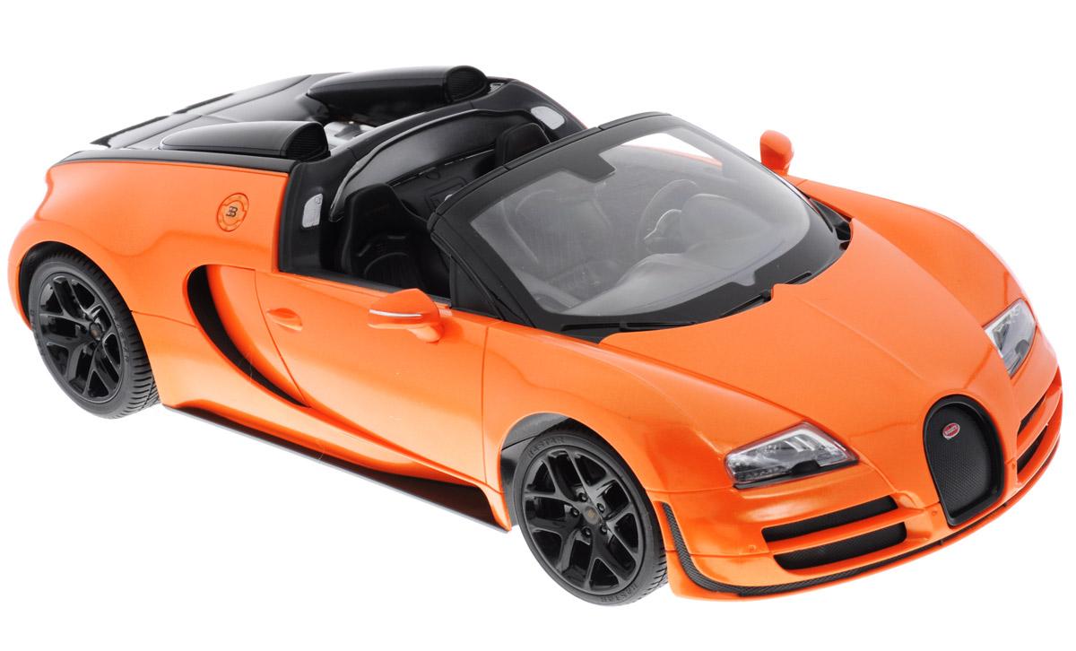 """Радиоуправляемая модель Rastar """"Bugatti Veyron 16.4 Grand Sport Vitesse"""" обязательно привлечет внимание взрослого и ребенка и понравится любому, кто увлекается автомобилями. Все дети хотят иметь в наборе своих игрушек ослепительные, невероятные и крутые автомобили на радиоуправлении. Тем более, если это автомобиль известной марки с проработкой всех деталей, удивляющий приятным качеством и видом. Одной из таких моделей является автомобиль на радиоуправлении Rastar """"Bugatti Veyron 16.4 Grand Sport Vitesse"""". Это точная копия настоящего авто в масштабе 1:14. Авто обладает неповторимым провокационным стилем и спортивным характером. Потрясающая маневренность, динамика и покладистость - отличительные качества этой модели. Возможные движения: вперед, назад, вправо, влево, остановка. Имеются световые эффекты. Пульт управления работает на частоте 40 MHz. Для работы машины необходимы 5 батареек типа АА (не входят в комплект). Для работы пульта..."""