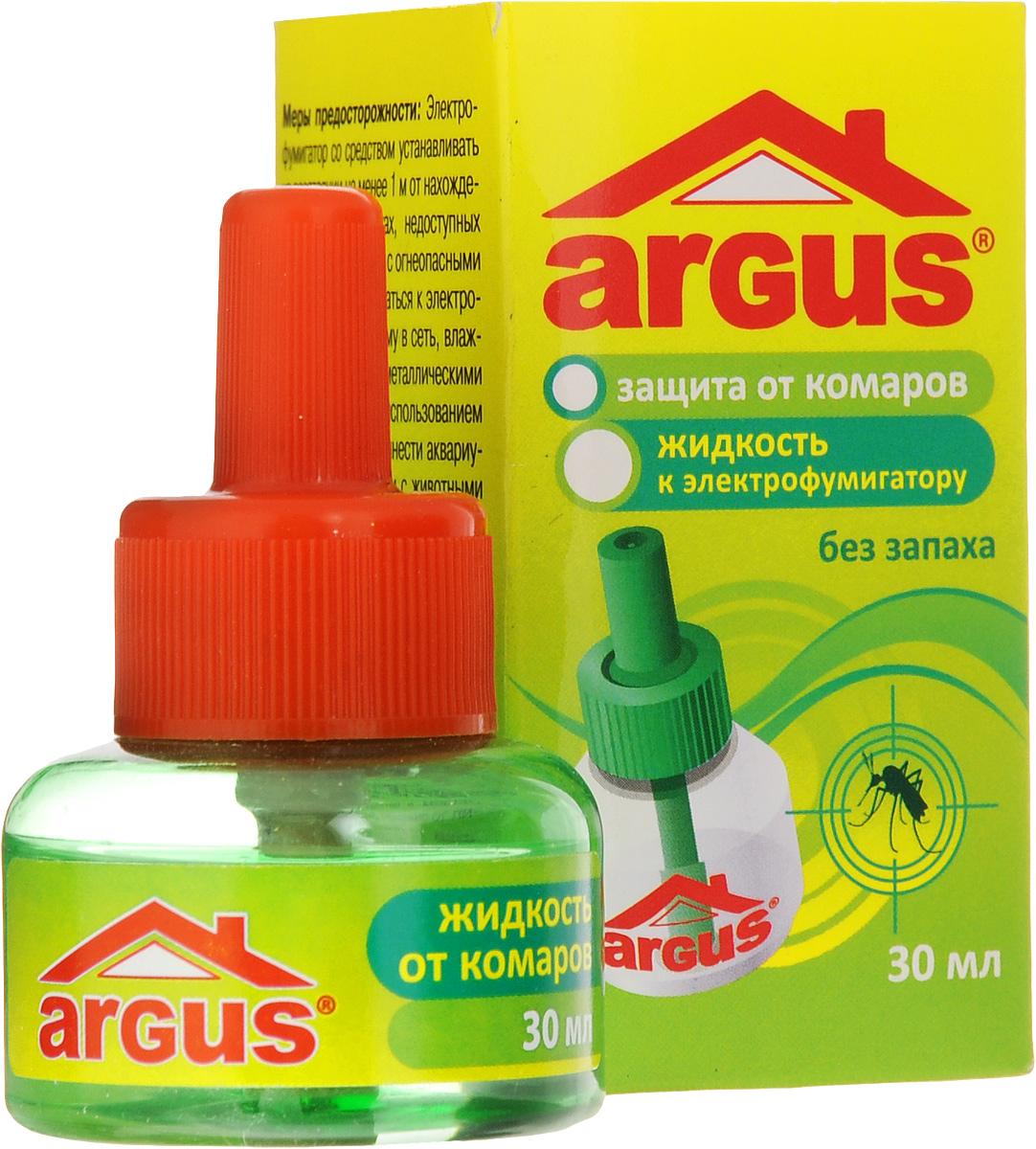 Жидкость от комаров Argus, без запаха, 30 мл66701107Один флакон жидкости Argus объемом 30 мл рассчитан не менее чем на 360 часов! Использование жидкости с фумигатором в течение 30 минут обеспечивает полную гибель мух, комаров и мошек. Используется в помещении площадью не менее 16 м2 при открытых окнах. Средство не имеет запаха.Состав: эток 0,9%, испарители, антиоксиданты, растворители.