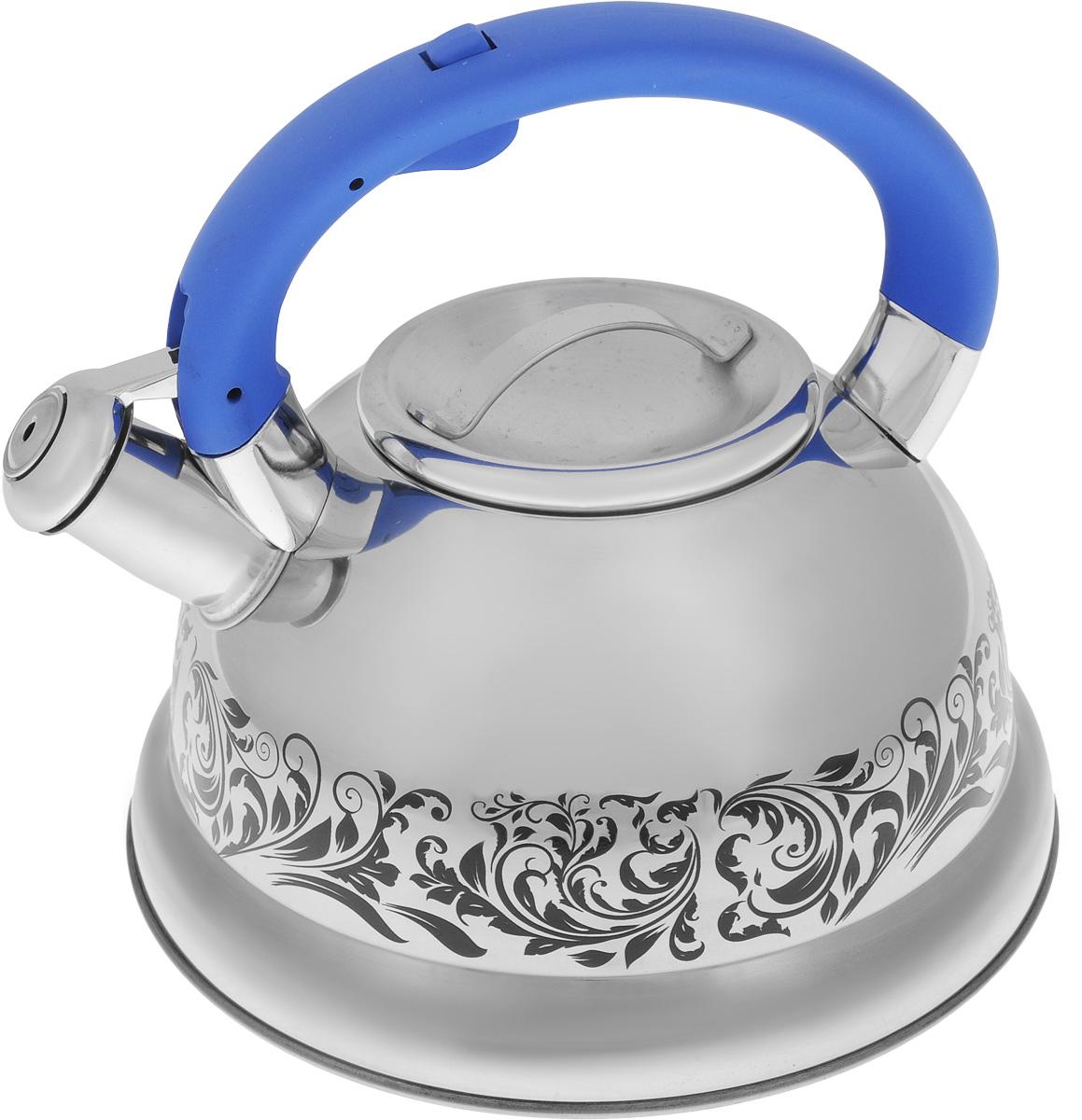 Чайник Mayer & Boch, со свистком, цвет: стальной, синий, 2,6 л. 2341754 009305Чайник Mayer & Boch выполнен из нержавеющей стали с зеркальной полировкой, что делает его весьма устойчивым к износу при длительном использовании. Изделие оснащено откидным свистком, который громко оповестит о закипании воды. Удобная эргономичная ручка изготовлена из бакелита. Такой чайник идеально впишется в интерьер любой кухни и станет замечательным подарком к любому случаю. Подходит для всех типов плит, включая индукционные. Можно мыть в посудомоечной машине.Диаметр чайника (по верхнему краю): 10 см.Диаметр индукционного диска: 18 см.Высота чайника (с учетом ручки): 20,5 см.