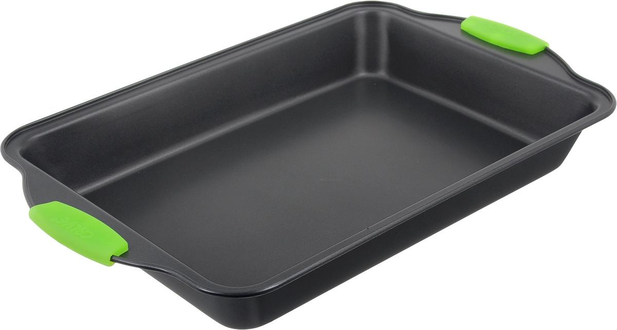 Форма для выпечки Calve, с антипригарным покрытием, цвет: темно-серый, зеленый, 40 х 25 см391602Форма для выпечки Calve изготовлена из высококачественной углеродистой стали с антипригарным покрытием и оснащена ручками с силиконовыми вставками. Форма равномерно и быстро прогревается, что способствует лучшему пропеканию пищи. Ее легко чистить. Готовая выпечка без труда извлекается. Форма подходит для использования в духовке. Перед каждым использованием ее необходимосмазать небольшим количеством масла.Простая в уходе и долговечная в использовании форма для выпечки Calve станет верным помощником в создании ваших кулинарных шедевров. Можно мыть в посудомоечной машине.Размер формы (с учетом ручек): 40,5 х 25 х 5 см. Внутренний размер формы: 33 х 23 х 5,5 см.Толщина материала: 0,4 мм.