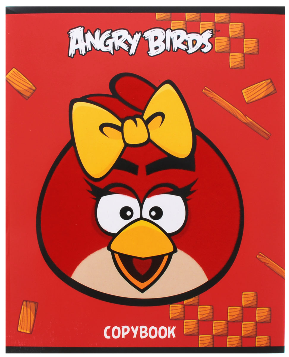 Hatber Тетрадь Angry Birds 48 листов в клетку цвет красный желтыйТС51004246Тетрадь Hatber Angry Birds отлично подойдет для занятий школьнику или студенту для различных записей.Обложка, выполненная из плотного мелованного картона, позволит сохранить тетрадь в аккуратном состоянии на протяжении всего времени использования. Изделие оформлено изображением злой птички. Внутренний блок тетради, соединенный двумя металлическими скрепками, состоит из 48 листов белой бумаги в голубую клетку с полями.