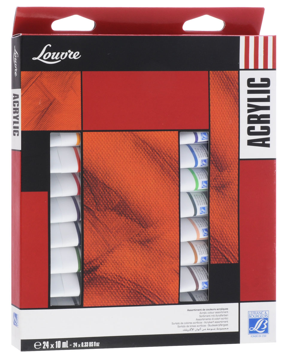 Краски акриловые Lefranc & Bourgeois Louvre, 10 мл, 23 цвета2010440Акриловые краски Lefranc & Bourgeois Louvre предназначены для декоративно-оформительских работ и прикладного творчества. Они наносятся на бумагу, холст, дерево, стекло, металл, пластик, кожу, ткань, керамику, пластилин, глину и используются для создания коллажей, как цветной клей и фон-основа для аппликаций. Палитра красок включает в себя 23 разных оттенка. В набор входят 24 металлические тубы с красками по 10 мл (22 тубы с разными и оттенками и 2 тубы с белым цветом), которые упакованы в картонную коробку.