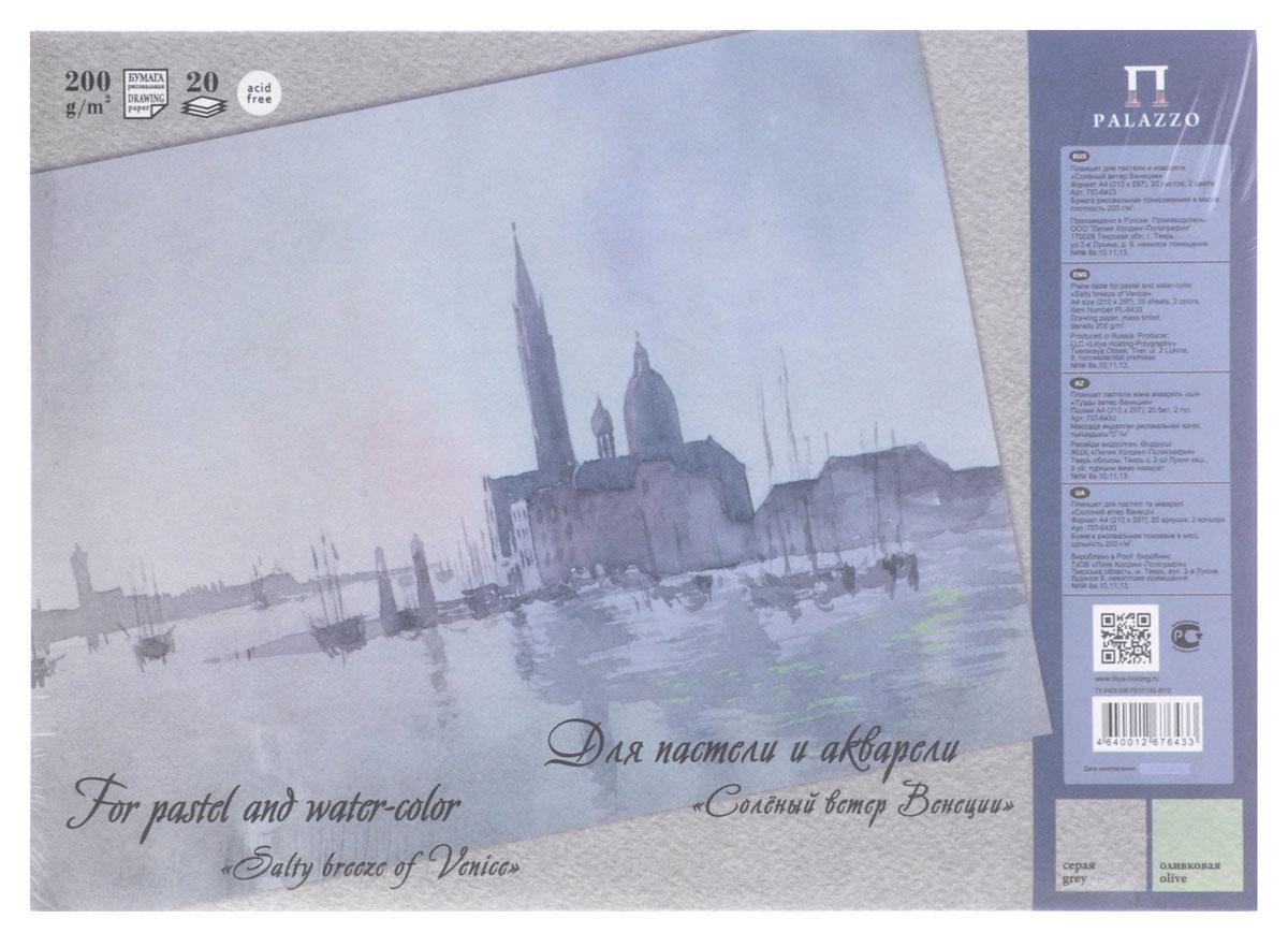 Планшет для пастели и акварели Palazzo Соленый ветер Венеции, 20 листов, формат А40703415Планшет для пастели и акварели Palazzo Соленый ветер Венеции состоит из 20 листов рисовальной бумаги двух цветов (10 листов серого цвета и 10 листов оливкового цвета) плотностью 200 г/м2. C одной стороны бумага имеет зернистую поверхность, с другой - гладкую. Идеально подходит для акварели и пастели, но также можно использовать и для других техник рисования. Альбом имеет основание из жесткого картона для удобства рисования. Формат: А4 (210 х 297 мм). Плотность: 200 г/м2. Количество листов: 20.
