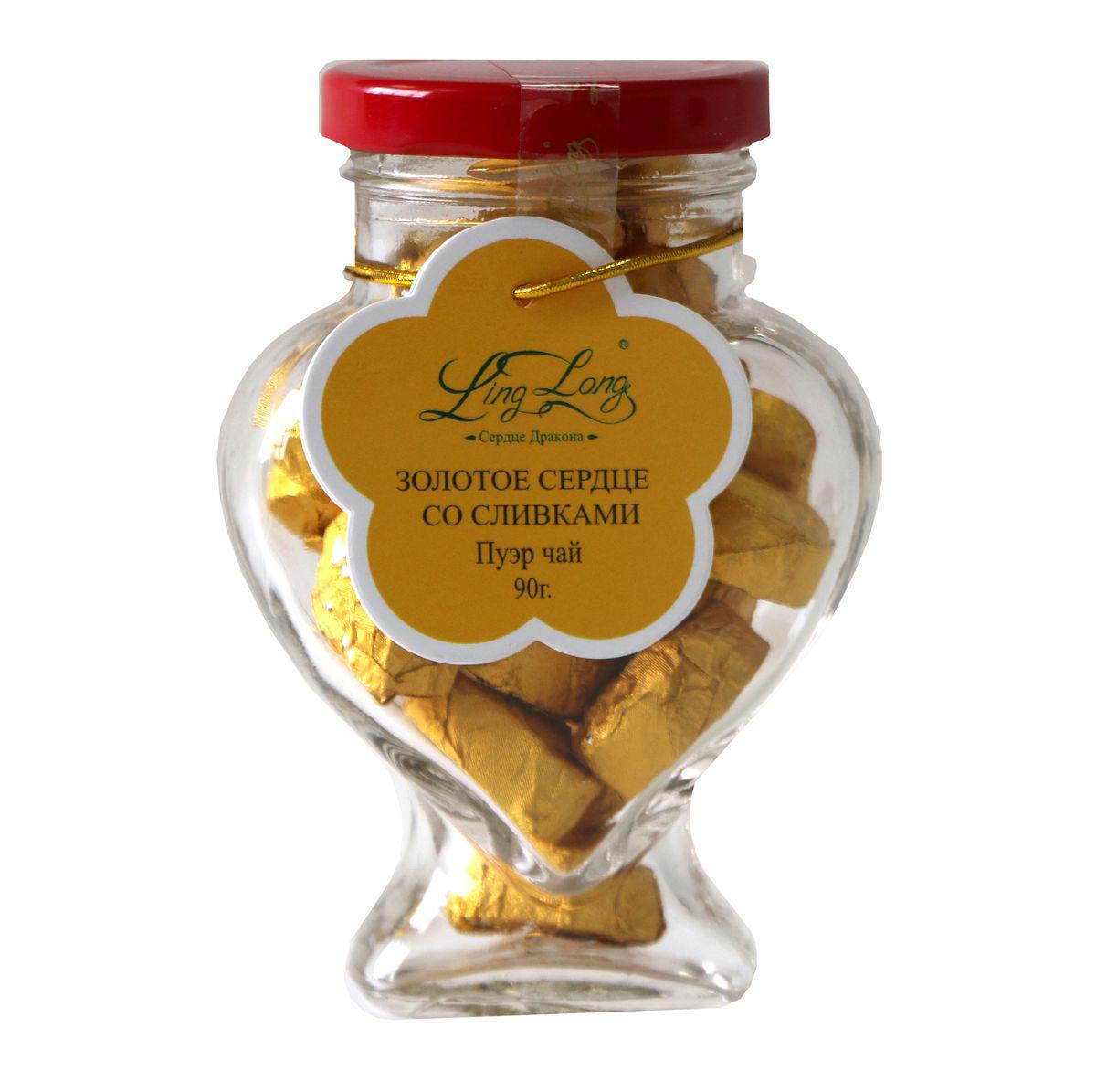 Ling Long Золотое сердце со сливками черный листовой чай пуэр, 90 г (стеклянная банка)LL508Чай черный Пуэр байховый китайский крупнолистовой Ling Long Золотое сердце с ароматом сливок. Спрессован в форме сердечек. Такой чай станет отличным подарком друзьям или близким.