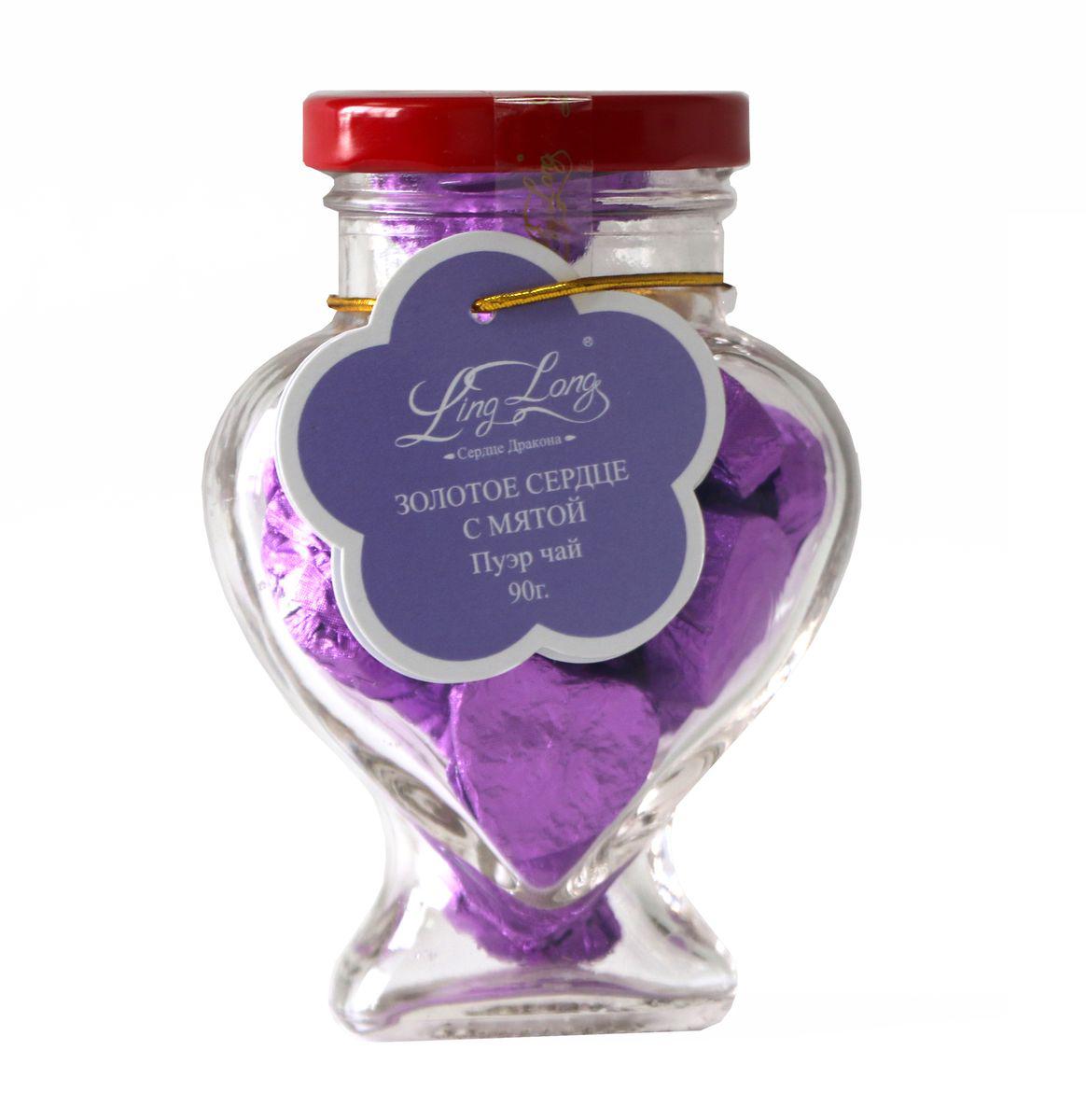 Ling Long Золотое сердце с мятой черный листовой чай пуэр, 90 г (стеклянная банка)LL510Чай черный Пуэр байховый китайский крупнолистовой Ling Long Золотое сердце с натуральными листьями мяты. Спрессован в форме сердечек. Такой чай станет отличным подарком друзьям или близким.