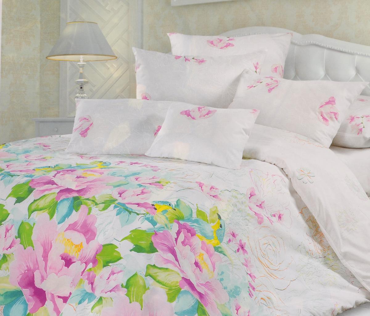 Комплект белья Унисон Парадиз, 2-спальный, наволочки 70х70, цвет: белый, розовый, зеленыйCLP446Комплект постельного белья Унисон Парадиз состоит из пододеяльника, простыни и двух наволочек. Постельное белье оформлено оригинальным ярким изображением цветов. Такой дизайн придется по душе каждому.Белье изготовлено из новой ткани Биоматин, отвечающей всем необходимым нормативным стандартам. Биоматин - это тканьполотняного переплетения, из экологически чистого и натурального 100% хлопка. Неоспоримым плюсом белья из такой ткани является мягкостьи легкость, она прекрасно пропускает воздух, приятна на ощупь и за ней легко ухаживать. При соблюдении рекомендаций по уходу, это белье выдерживает много стирок, не линяети не теряет свою первоначальную прочность. Уникальная ткань обеспечивает легкую глажку.Приобретая комплект постельного белья Унисон Парадиз, вы можете быть уверены в том, что покупка доставит вам ивашим близким удовольствие и подарит максимальный комфорт.