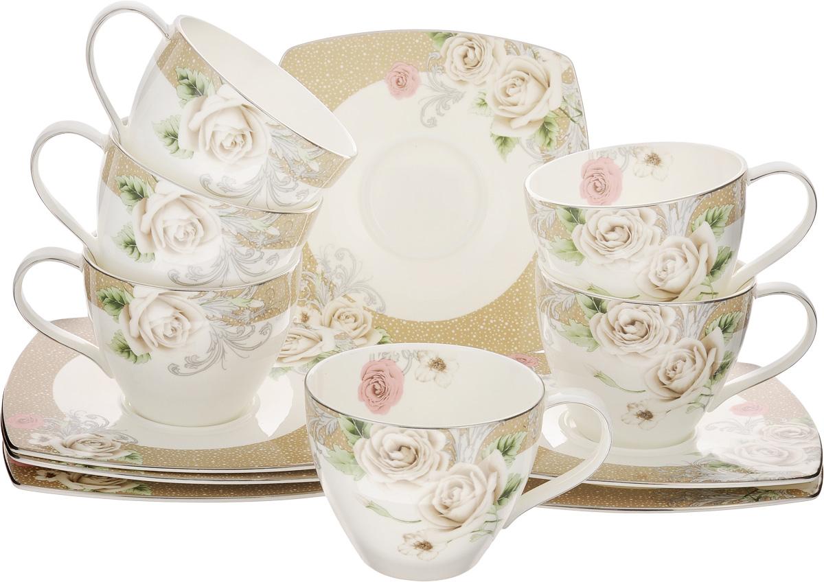 Набор чайный Family & Friends Florance, 12 предметов115510Чайный набор Family & Friends Florance состоит из шести чашек и шести блюдец, выполненных из фарфора. Изделия оформлены изящным цветочным рисунком. Изящный набор эффектно украсит стол к чаепитию и порадует вас функциональностью и ярким дизайном. Объем чашки: 280 мл. Диаметр чашки (по верхнему краю): 9 см. Высота чашки: 7 см. Размер блюдца: 15,5 х 15,5 х 1 см.