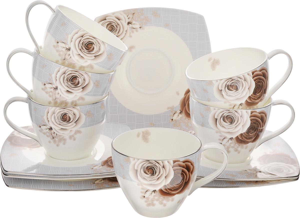 Набор чайный Family & Friends Дэниш, 12 предметовPR7983нЧайный набор Family & Friends Дэниш состоит из шести чашек и шести блюдец, выполненных из фарфора. Изделия оформлены изящным цветочным рисунком. Изящный набор эффектно украсит стол к чаепитию и порадует вас функциональностью и ярким дизайном. Объем чашки: 280 мл. Диаметр чашки (по верхнему краю): 9 см. Высота чашки: 7 см. Размер блюдца: 15,5 х 15,5 х 1 см.