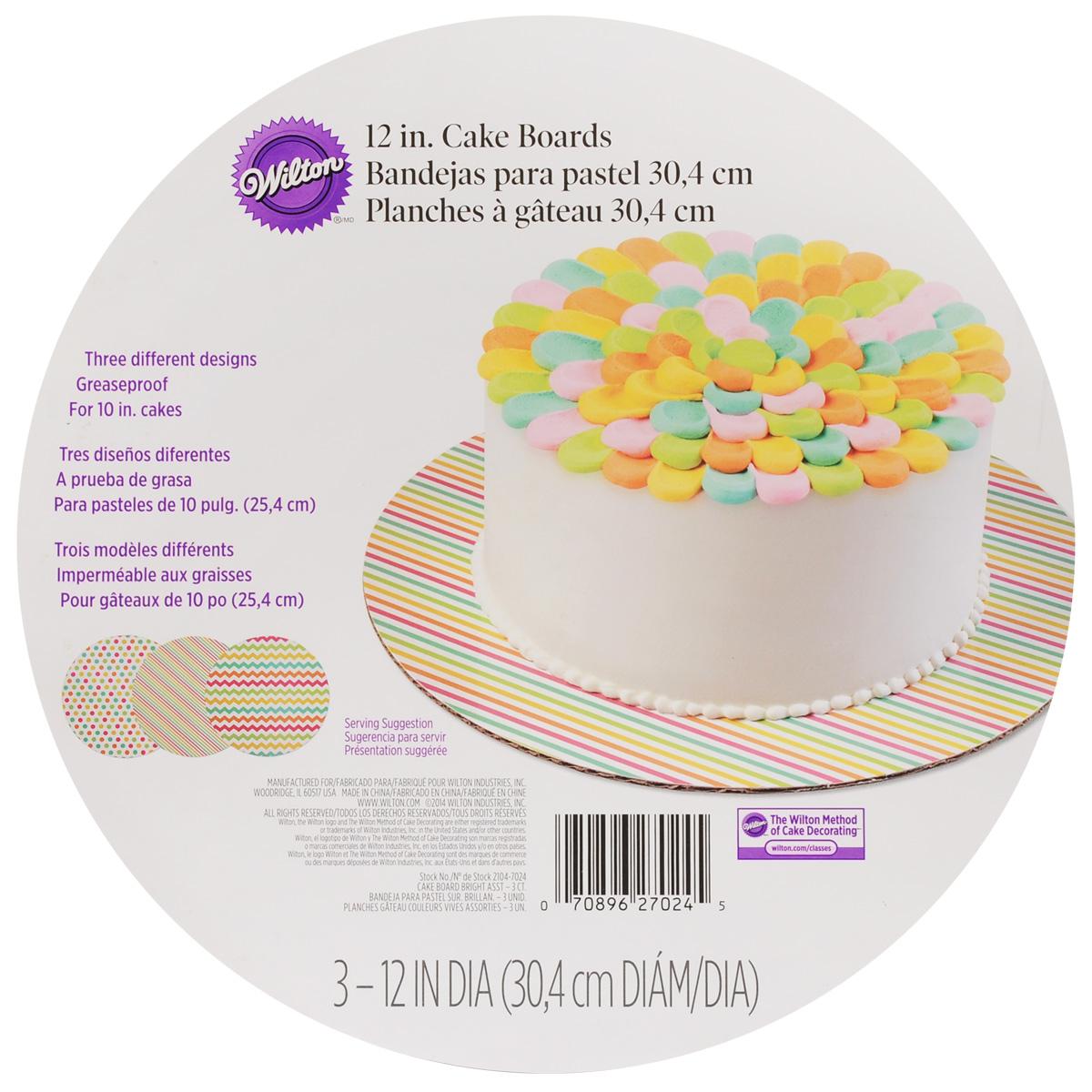 Основа для торта Wilton, диаметр 30,5 см, 3 шт2127_красныйКруглая основа для торта Wilton изготовлена из гофрированного картона с жиронепроницаемым покрытием, оформленным красочным принтом. Изделие предназначено для угощений и закусок (тортов, пирожных, канапе). Основа удобна для работы, перекладывания коржей, хранения и переноски торта. В комплекте 3 основы. Диаметр: 30,5 см.