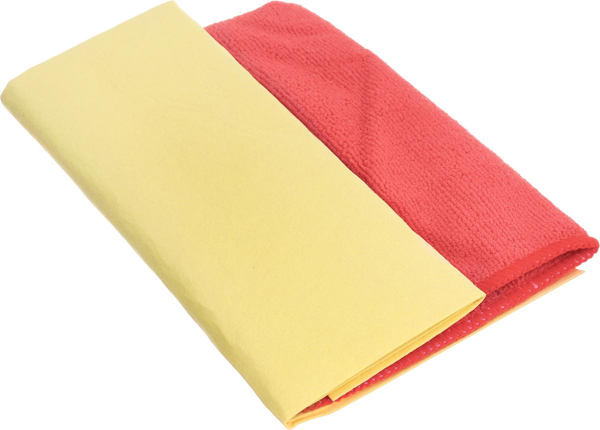 Набор салфеток для ухода за автомобилем Pingo, цвет: желтый, красный, 2 шт68/3/7Набор Pingo включает две салфетки из синтетической замши и микрофибры. Салфетка из синтетической замши идеально подходит для протирки мокрых лакокрасочных и хромированных поверхностей, стекол и поверхностей из искусственных материалов, для чистки приборной панели автомобиля. Махровая салфетка из микрофибры предназначена для полировки кузова автомобиля, для чистки лобового стекла, пластика и хрома, обивки сидений, для влажной и сухой уборки. Изделия отлично впитывают влагу, быстро и эффективно удаляют пыль и грязь. Могут применяться без использования дополнительных чистящих средств.Материалы: 80% вискоза, 20% пропилен; 70% полиэстер, 30% полиамид.Размер салфеток: 40 х 30 см; 32 х 32 см.