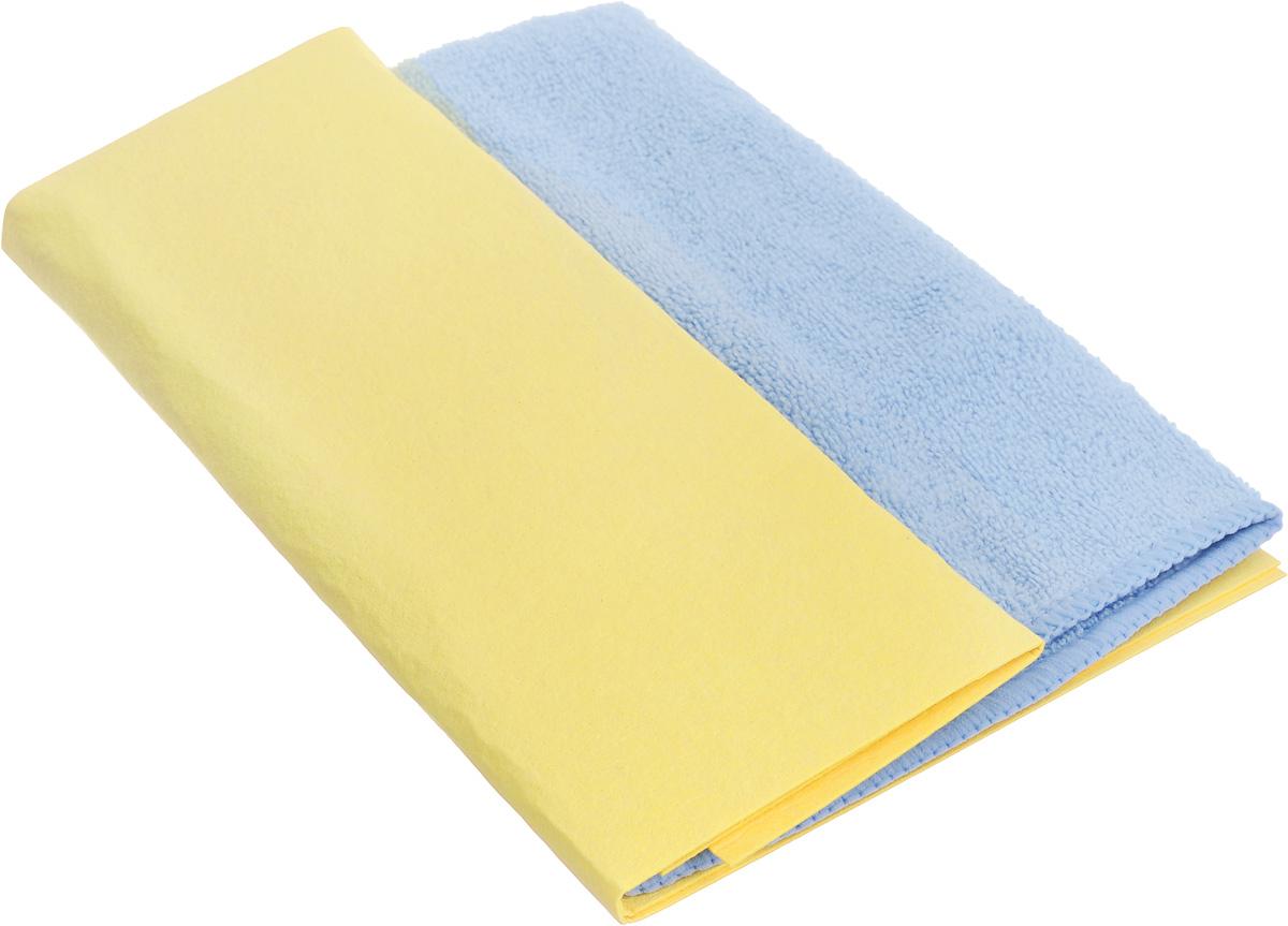 Набор салфеток для ухода за автомобилем Pingo, цвет: желтый, голубой, 2 штRC-100BWCНабор Pingo включает две салфетки из синтетической замши и микрофибры. Салфетка из синтетической замши идеально подходит для протирки мокрых лакокрасочных и хромированных поверхностей, стекол и поверхностей из искусственных материалов, для чистки приборной панели автомобиля. Махровая салфетка из микрофибры предназначена для полировки кузова автомобиля, для чистки лобового стекла, пластика и хрома, обивки сидений, для влажной и сухой уборки. Изделия отлично впитывают влагу, быстро и эффективно удаляют пыль и грязь. Могут применяться без использования дополнительных чистящих средств.Материалы: 80% вискоза, 20% пропилен; 70% полиэстер, 30% полиамид.Размер салфеток: 40 х 30 см; 32 х 32 см.