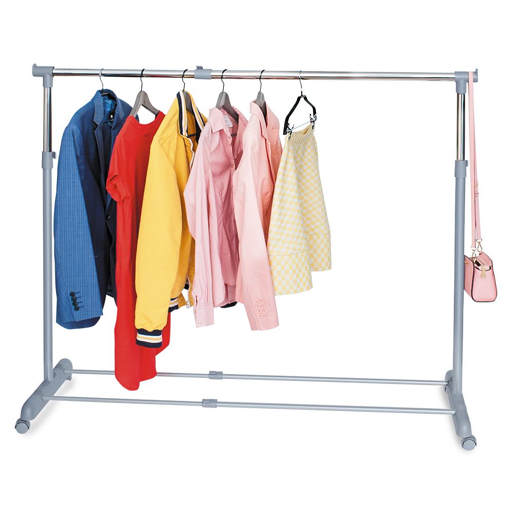 Стойка для одежды Tatkraft Party , регулируемая, цвет: серый16050Стойка для одежды Tatkraft Party позволит сэкономить полезное пространство в вашей прихожей или комнате. Она представляет собой конструкцию, выполненную их хромированной стали и пластика. Высота и ширина стойки регулируется. Благодаря колесикам вешалку легко перемещать вместе с одеждой. Внизу имеется полка для обуви, а сверху боковые крючки, на которые можно повесить сумки или пакеты.Такая стойка для одежды отличается практичностью и удобством в использовании.Регулируемая ширина: 95-161,5 см.Регулируемая высота: 96,5-166 см.Длина: 44 см.Максимальная длина вешалок: 35 см.Максимальная нагрузка: 15 кг.