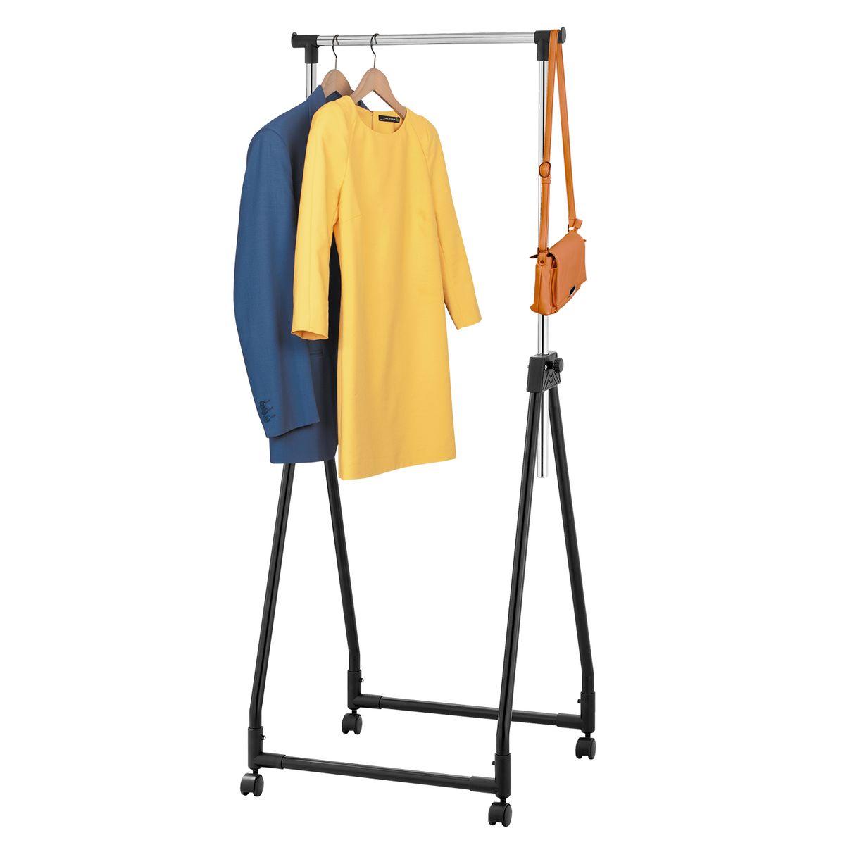 Стойка для одежды Tatkraft Swift, складная , цвет: черныйCLP446Складная стойка для одежды Tatkraft Swift выполнена из хромированной и окрашенной стали. Имеет надежные зажимы, боковые крючки. Вмещает до 15 вешалок, распределенный вес по длине штанги - 15 кг. Сложенная стойка легко размещается: в шкафу, за дверью, в багажнике.