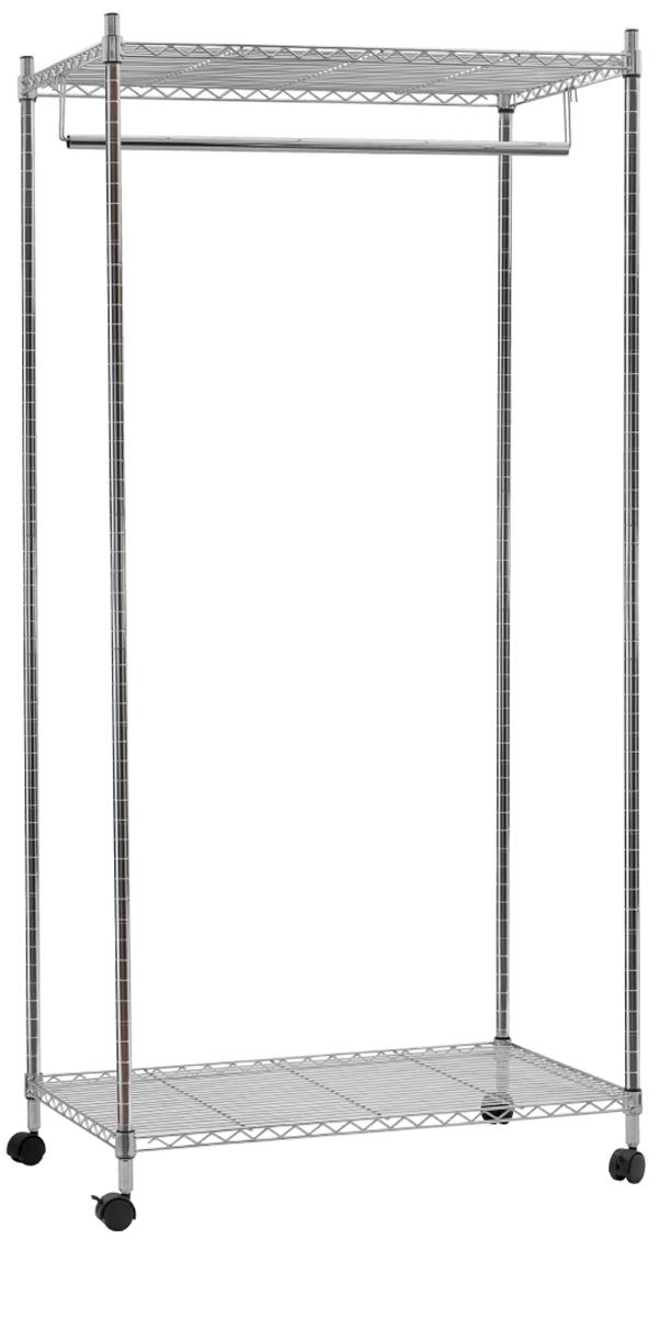 Стойка для одежды Artmoon Buffalo, с двумя полками и штангой для вешалок, 75 x 45 x 150 см699300Сверхмощная стойка Artmoon Buffalo с двумя полками и штангой для вешалок изготовлена их хромированной стали. В комплекте идет чехол из полиэстера, который защищает одежда от пыли..Стойка выдерживает вес 50 кг.4 колеса с фиксатором обеспечивают мобильность. Размер стойки: 75 x 45 x 150 см.