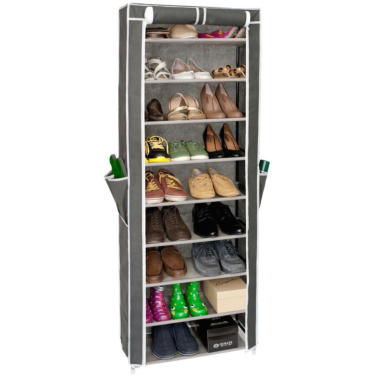 Этажерка для обуви Artmoon Carrie, с нетканым чехлом, 9 полок, цвет: серый531-301Этажерка Artmoon Carrie состоит из 9 полок, рассчитанных на 27 пар обуви. Полки съемные, регулируются под обувь любой высоты. Нетканый чехол защищает от пыли, две молний, фиксируется липучкой в открытом виде, полки с полипропиленовой пропиткой не боятся влаги для легкой уборки. На чехле расположены дополнительные 4 кармашка.Размер этажерки: 58 x 29 x 160 см.