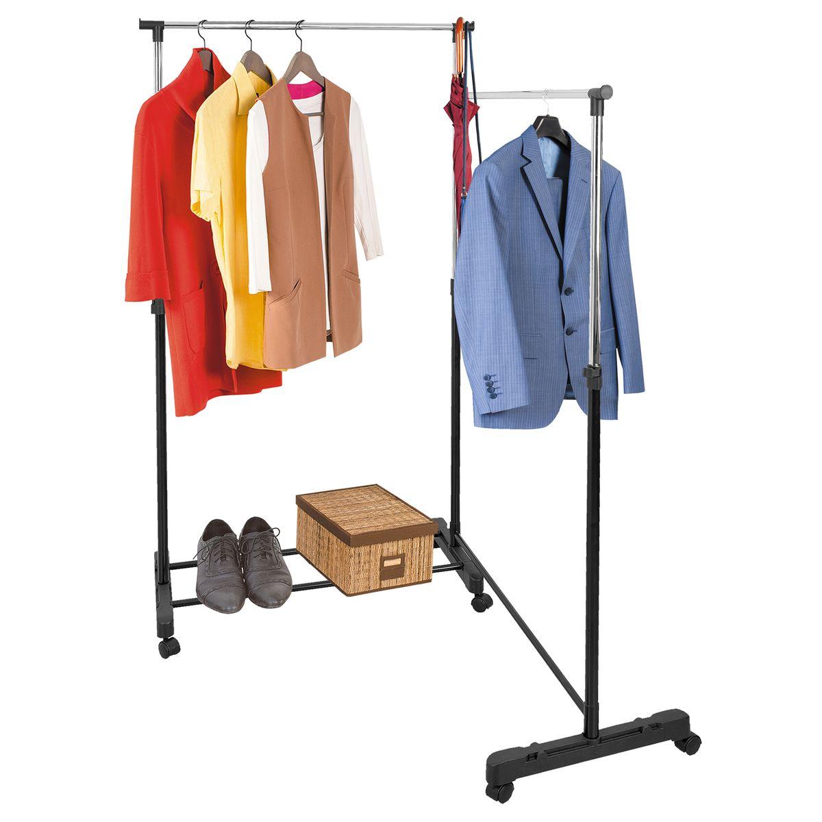 Стойка для одежды Tatkraft Twins, двойная, на колесах, с выдвижными штангами13377Двойная стойка Tatkraft Twins выполнена из хромированной стали и пластика. Она подойдет для хранения большого гардероба, а также незаменима для большой семьи. Свободно вращающиеся колесики и небольшой вес, обеспечивают стойке практически неограниченную мобильность, что, с одной стороны, существенно облегчает уборку, а с другой - не стесняет ваших передвижений в собственном доме.Прочная основа и регулируемая форма стойки для одежды с легкостью выдерживают вес до 30 кг, она может вместить до 40 вешалок с рубашками, платьями и с верхней одеждой. Крючки по бокам позволят хранить сумки и зонты, а на планках внизу стойки можно компактно поместить коробки с обувью. Надежные зажимы регулируют высоту планки комфортную именно для вас. В современной жизни с ее быстрым ритмом ценится каждая минута, а порядок в доме позволяет не тратить лишнее время на поиск вещей. Важно, чтобы все было под рукой, занимало как можно меньше места и служило достаточно долго. Части стойки поворачиваются на 360 градусов. Регулируемая высота стойки: 103,5-167 см. Длина стойки в сложенном виде: 100 см. Длина стойки в разложенном виде: 175,5 см. Ширина стойки: 42,5 см.