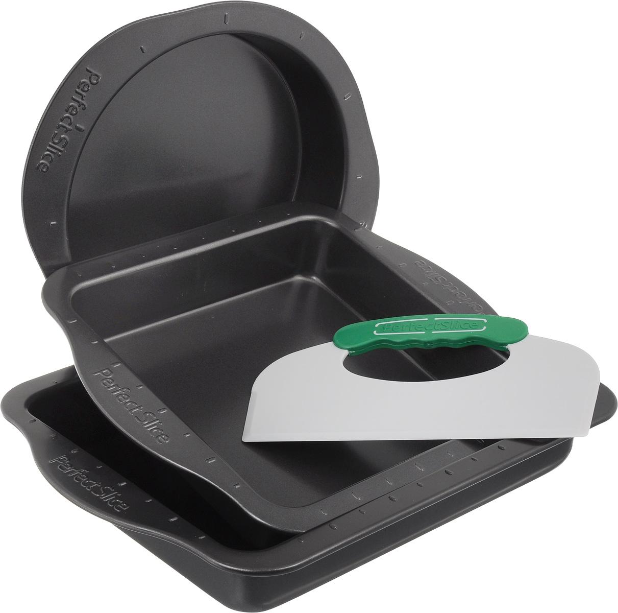 Набор для выпечки BergHOFF Perfect Slice, 4 предмета68/5/3Набор для выпечки BergHOFF Perfect Slice состоит из противня, круглой формы, квадратной формы и инструмента для нарезания. Изделия выполнены из высокоуглеродистой стали с антипригарным покрытием. Благодаря такому покрытию пища не пригорает, не прилипает и легко вынимается. Специальная разметка и пластиковый инструмент для нарезания с прорезиненными ручками позволят разделить блюда на равные и красивые порции. Эргономичные ручки на посуде выполнены для безопасного и легкого хвата, даже в рукавицах. Формы и противень выдерживают температуру до 250°C. Такой набор станет верным помощником в создании ваших кулинарных шедевров.Подходит для использования в духовом шкафу. Можно мыть в посудомоечной машине. Внутренний диаметр круглой формы: 22 см. Ширина круглой формы (с учетом ручек): 30 см. Высота стенки круглой формы: 5 см.Внутренний размер квадратной формы: 22,5 х 22,5 см.Ширина квадратной формы (с учетом ручек): 30 см. Высота стенки квадратной формы: 5 см.Внутренний размер противня: 29 х 22,5 см. Ширина противня (с учетом ручек): 36 см. Высота стенки противня: 5 см.Размер инструмента для нарезания: 22,5 х 12,5 см.