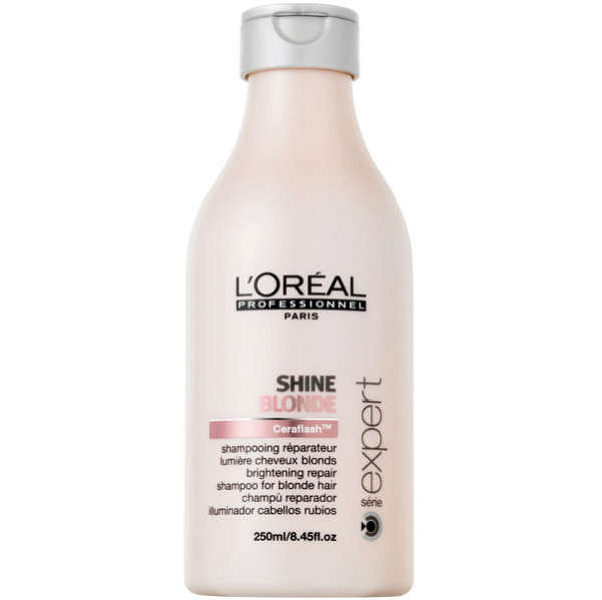 LOreal Professionnel Шампунь Expert Shine Blonde - 250 млFS-00897Волосы, которые подверглись окрашиванию или осветлению, нуждаются в особо бережной защите и в восстановлении. Такой уход им способен обеспечить шампунь из серии Shine Blonde, который препятствует появлению жёлтого оттенка и потускнению волос. Кроме того, он защищает волосы от воздействия ряда негативных факторов внешней среды. В состав шампуня входят керамиды, восстанавливающие межклеточное вещество, анти-кальциевые компоненты, защищающие волосы от неблагоприятного воздействия воды, а также активные компоненты, увлажняющие волосы и придающие им блеск. Шампунь очень бережно и мягко очищает волосы, не вымывая красящие пигменты. Средство препятствует потускнению цвета и появлению жёлтого оттенка, дарит волосам сияние и блеск, делает их необычайно послушными и мягкими. Шампунь Shine Blonde обеспечит вашим волосам яркий цвет, питание и увлажнение.