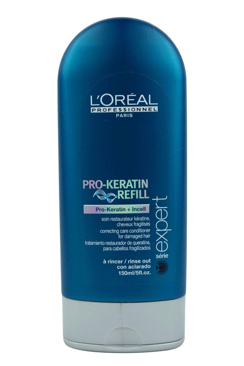 LOreal Professionnel Смываемый восстанавливающий и укрепляющий уход для поврежденных волос Expert Pro-Keratin Refill - 150 млE0525870Корректирующее смываемое ухаживающее средство Про-Кератин Рефил Correcting Care Conditioner помогает вернуть волосам красоту и здоровье, восполнить недостаток кератина – строительного материала для волос.Кондиционер глубоко проникает в волос и восстанавливает поврежденные участки, помогает улучшить состояние поврежденных волос.Питает активными веществами и смягчает.Укрепляя кутикулу, придает волосам жизненную силу и упругость от корней до кончиков.Благотворно влияет на клетки кожи головы, укрепляя, тем самым, корни и способствуя лучшему росту волос.Возвращает природный объем и значительно уплотняет тонкие волосы.Защищает от УФ-фильтра и пересушивания.Регулярное применение Correcting Care Conditioner дарит волосам жизненную силу и естественный блеск, защищая их от негативного воздействия окружающей среды. Активные компоненты: Кератин, комплекс витаминов, молекулы Incell, протеины пшеницы, фруктовые экстракты.