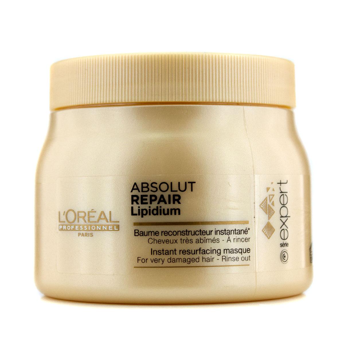 LOreal Professionnel Маска, восстанавливающая структуру волос на клеточном уровне Expert Absolut Repair Lipidium - 500 млE0640825Маска Absolut Repair Lipidium питает, защищает и укрепляет волокна волос по всей длине. Содержащиеся в маске УФ-фильтры защищают волосы от ультрафиолета. Различные виды натурального воска, входящие в состав маски, обволакивают каждый волос защитной пленкой, оберегающей от отрицательного воздействия окружающей среды и придающей им красивый и ухоженный вид. Волосы меньше ломаются и становятся более крепкими по всей длине.