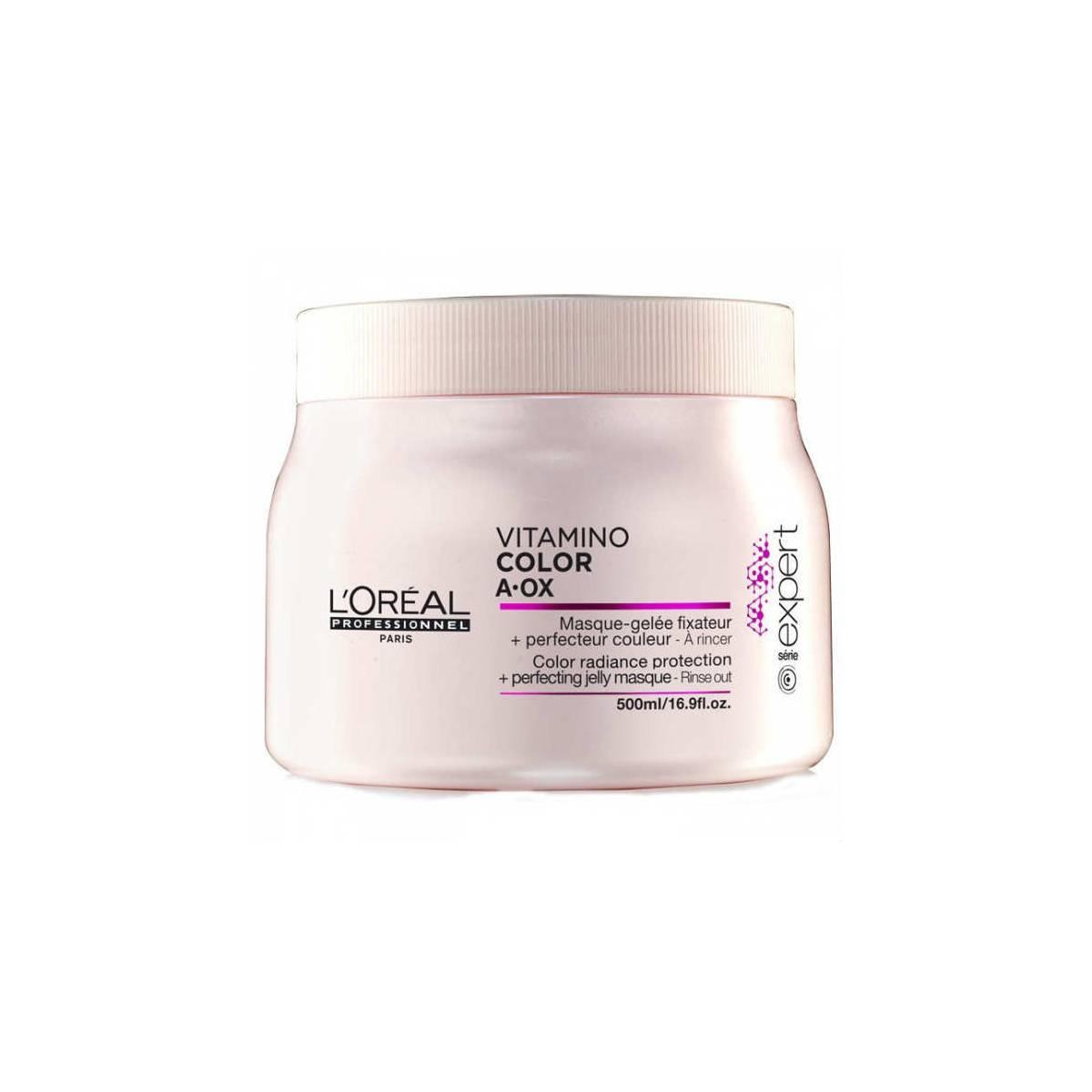 LOreal Professionnel Expert Vitamino Маска-фиксатор цвета Color AOX 500 млFS-36054Маска-фиксатор цвета Витамино Колор – это средство, предназначенное для ухода за окрашенными волосами. Средство обладает особой формулой, благодаря которой на волосах образуется защитная плёнка, препятствующая вымыванию цвета и обеспечивающая волосам защиту от воздействия негативных факторов. Эффект будет очевиден уже после первого применения: волосы станут упругими и мягкими, приобретут изысканный блеск. При регулярном применении волосы будут выглядеть так, будто вы недавно посетили салон красоты. Кроме того, улучшится и структура волос, а их цвет не потускнеет даже спустя долгое время.